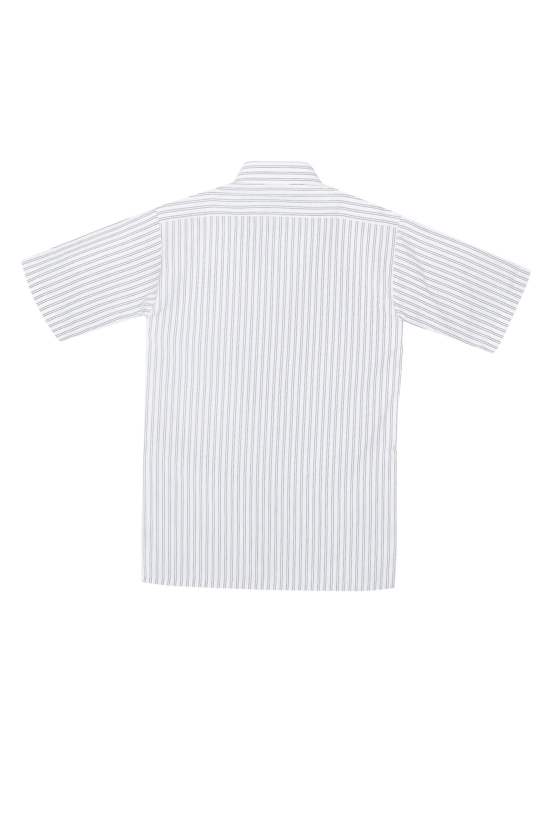 白底黑條紋棉質短袖襯衫/舒適透氣