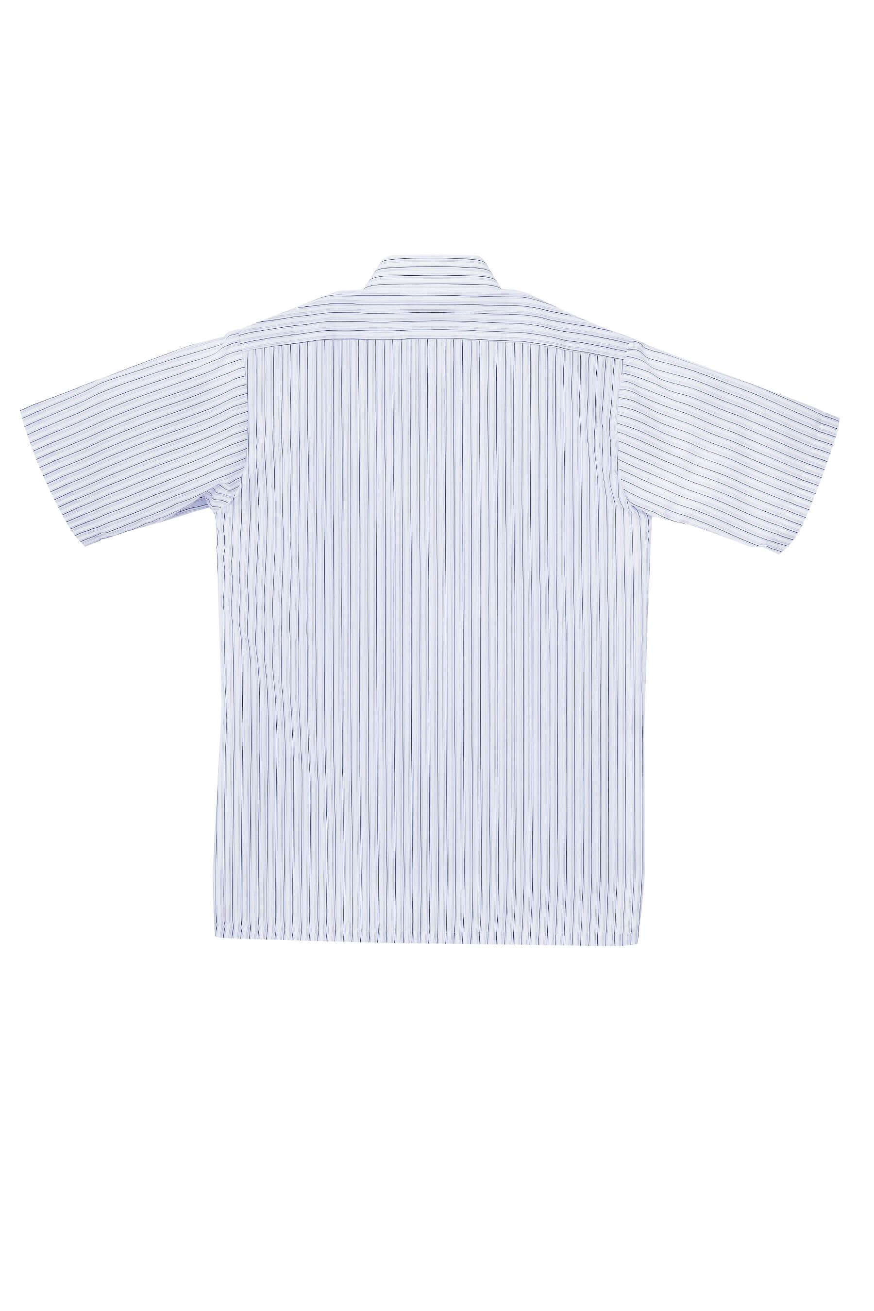 紫藍條紋棉質短袖襯衫/舒適透氣