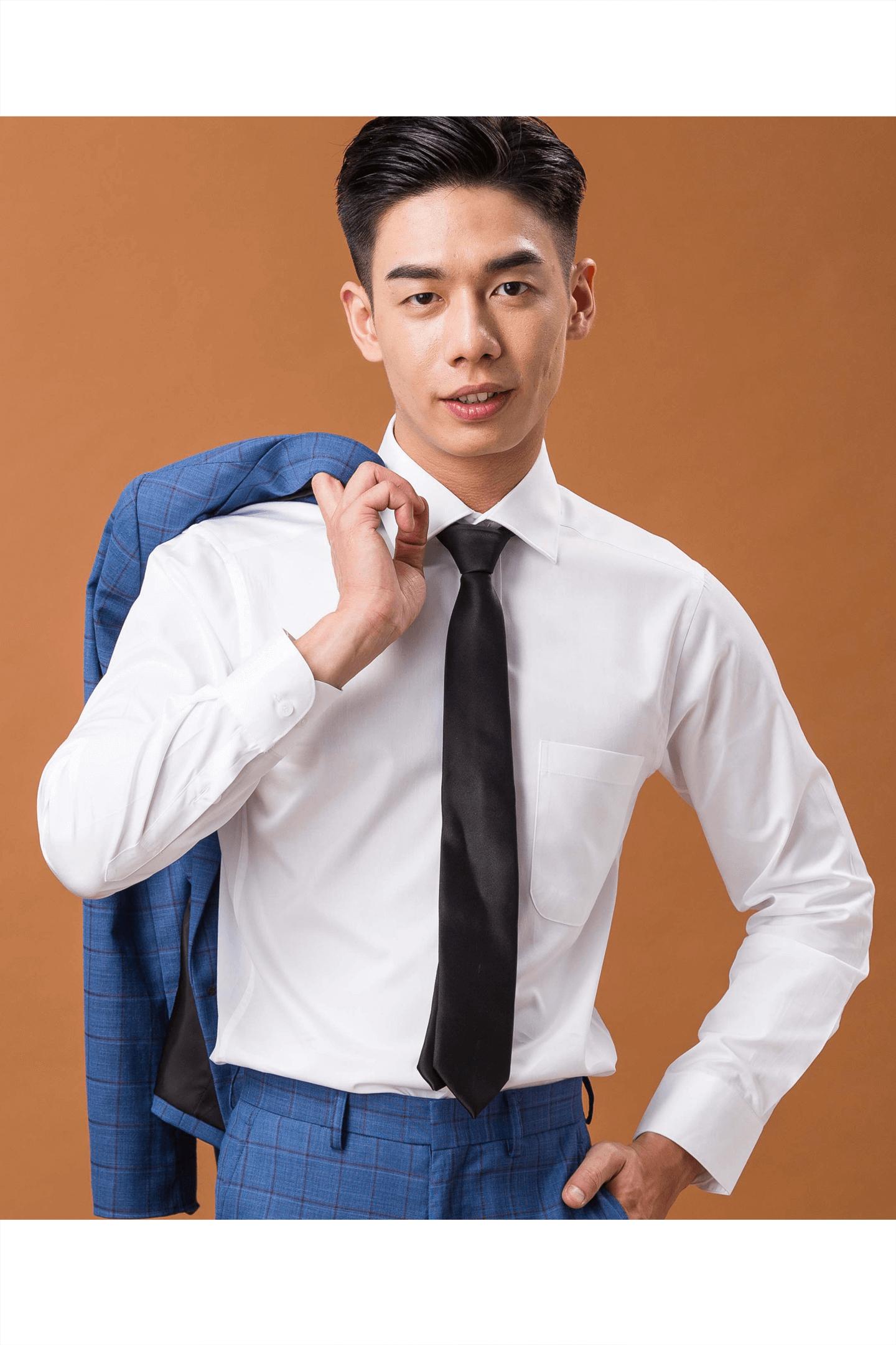 白色素面防皺棉質襯衫/100支雙股紗布料