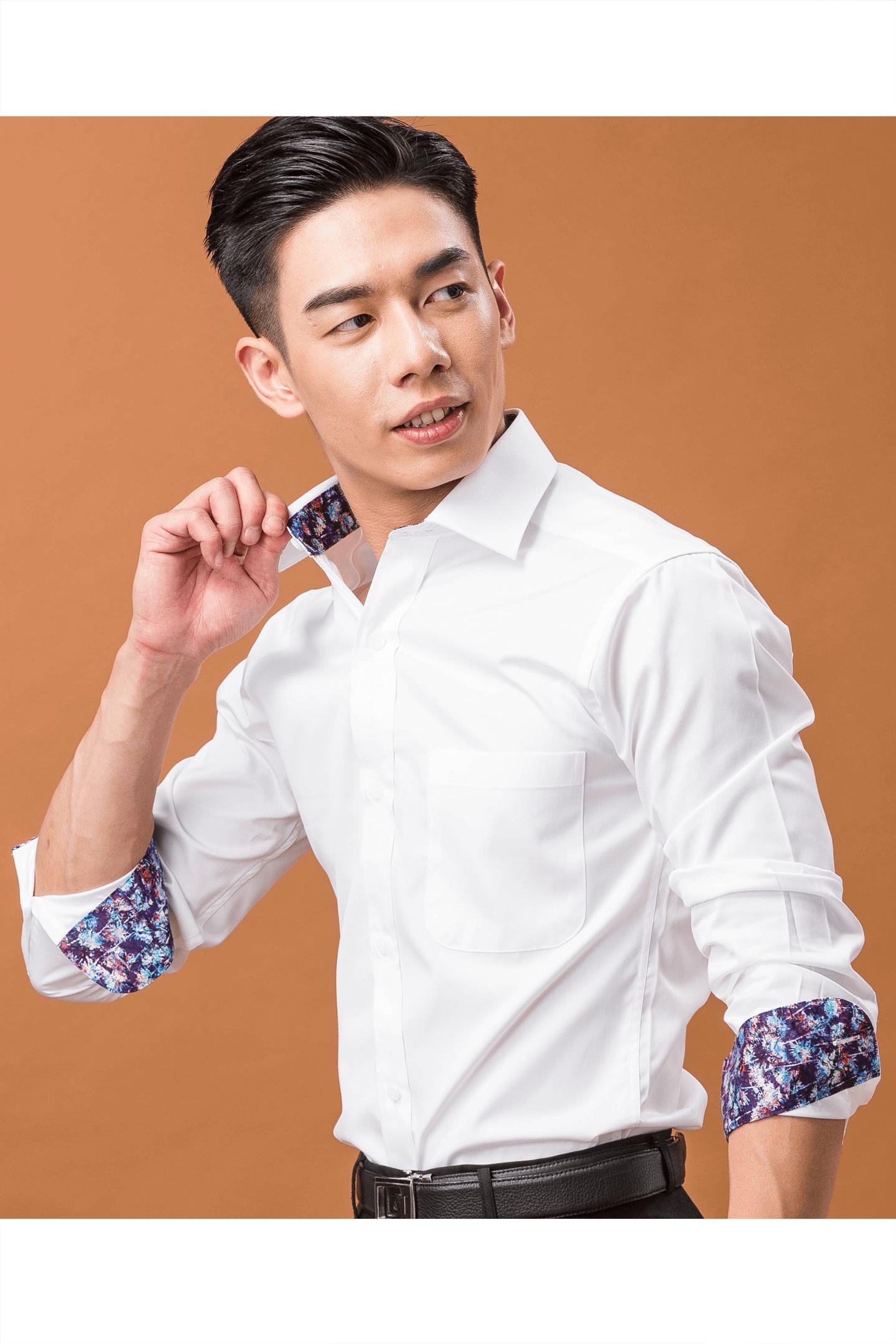 白色配領防皺棉質襯衫/100支雙股紗布料
