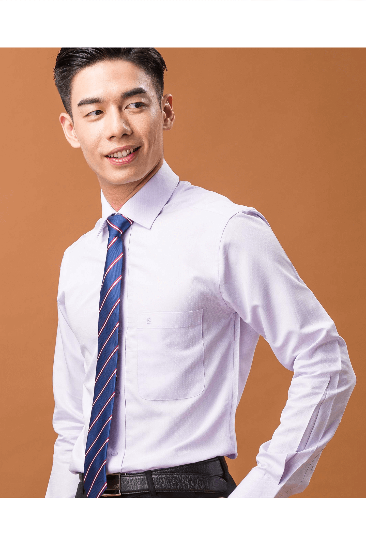 淺紫色格紋素面長袖襯衫/抗皺 舒適透氣