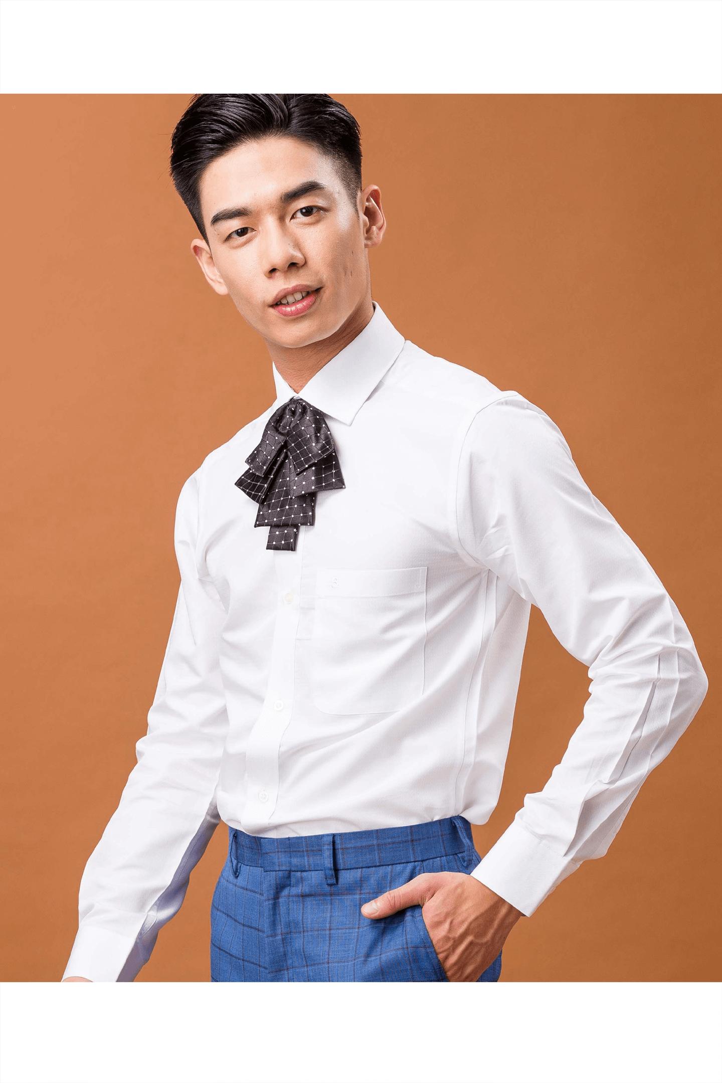 白色斜格紋長袖襯衫/抗皺 舒適透氣
