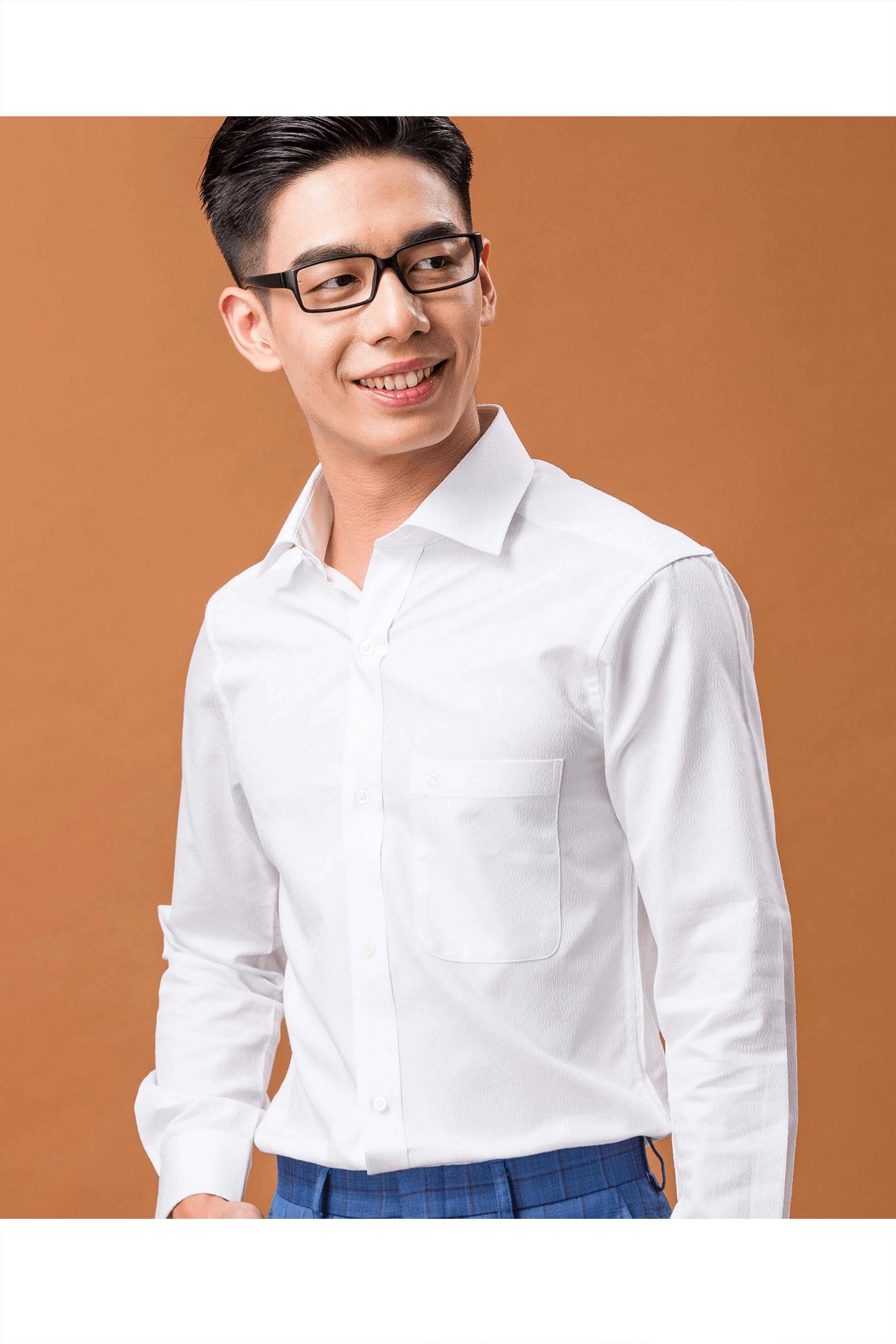 白色變形蟲棉質長袖襯衫/舒適透氣