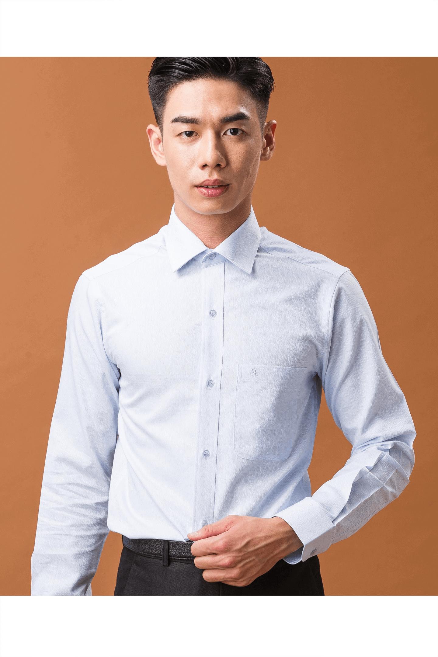 淺藍色變形蟲棉質長袖襯衫/舒適透氣