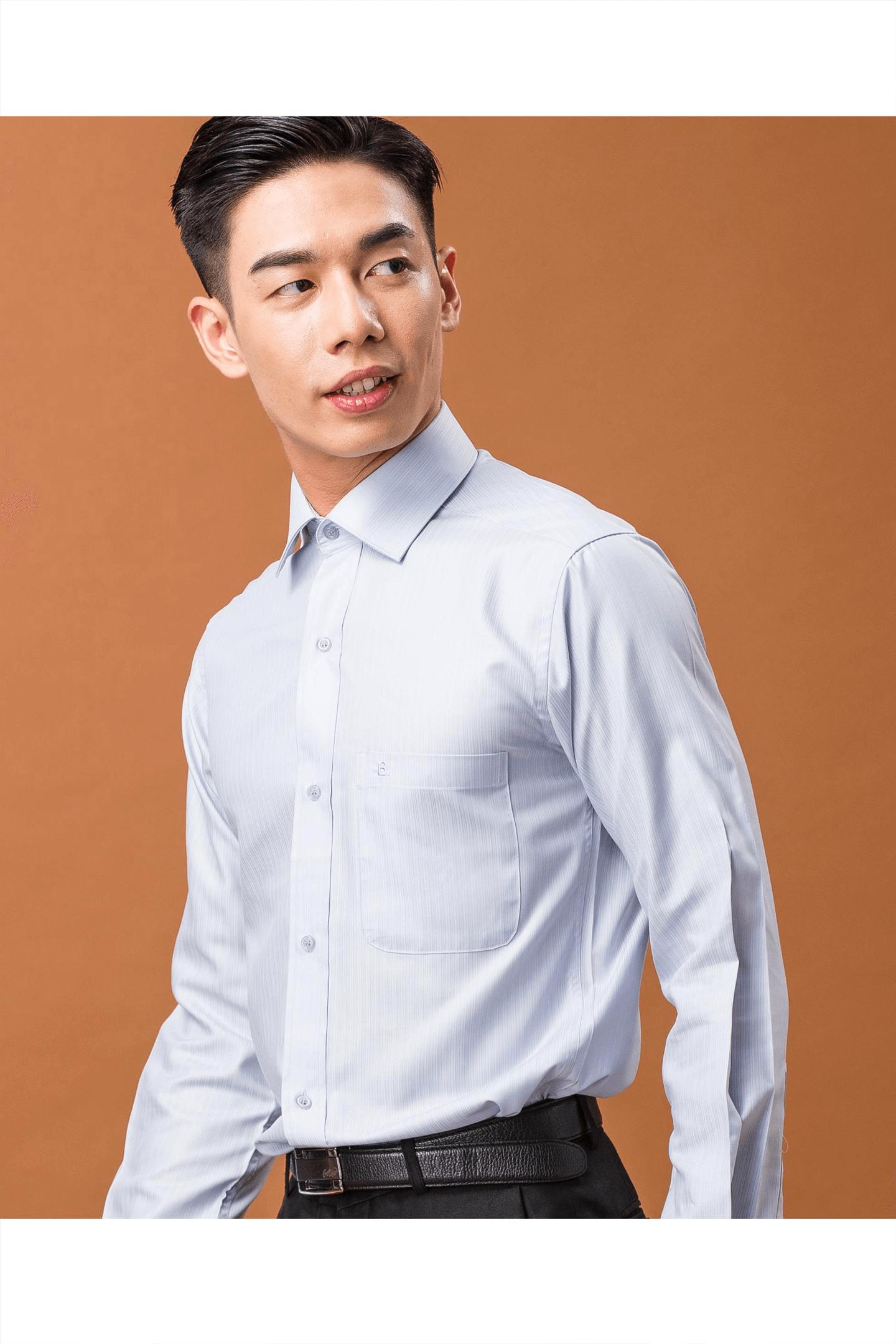 灰藍色條紋素面長袖襯衫/抗皺 舒適透氣<br />