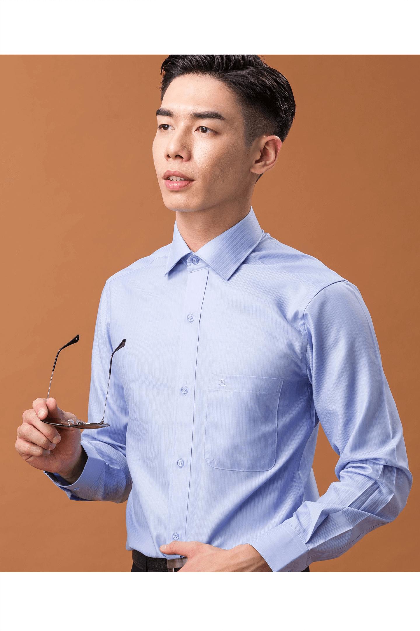 藍色條紋素面長袖襯衫/抗皺 舒適透氣<br />