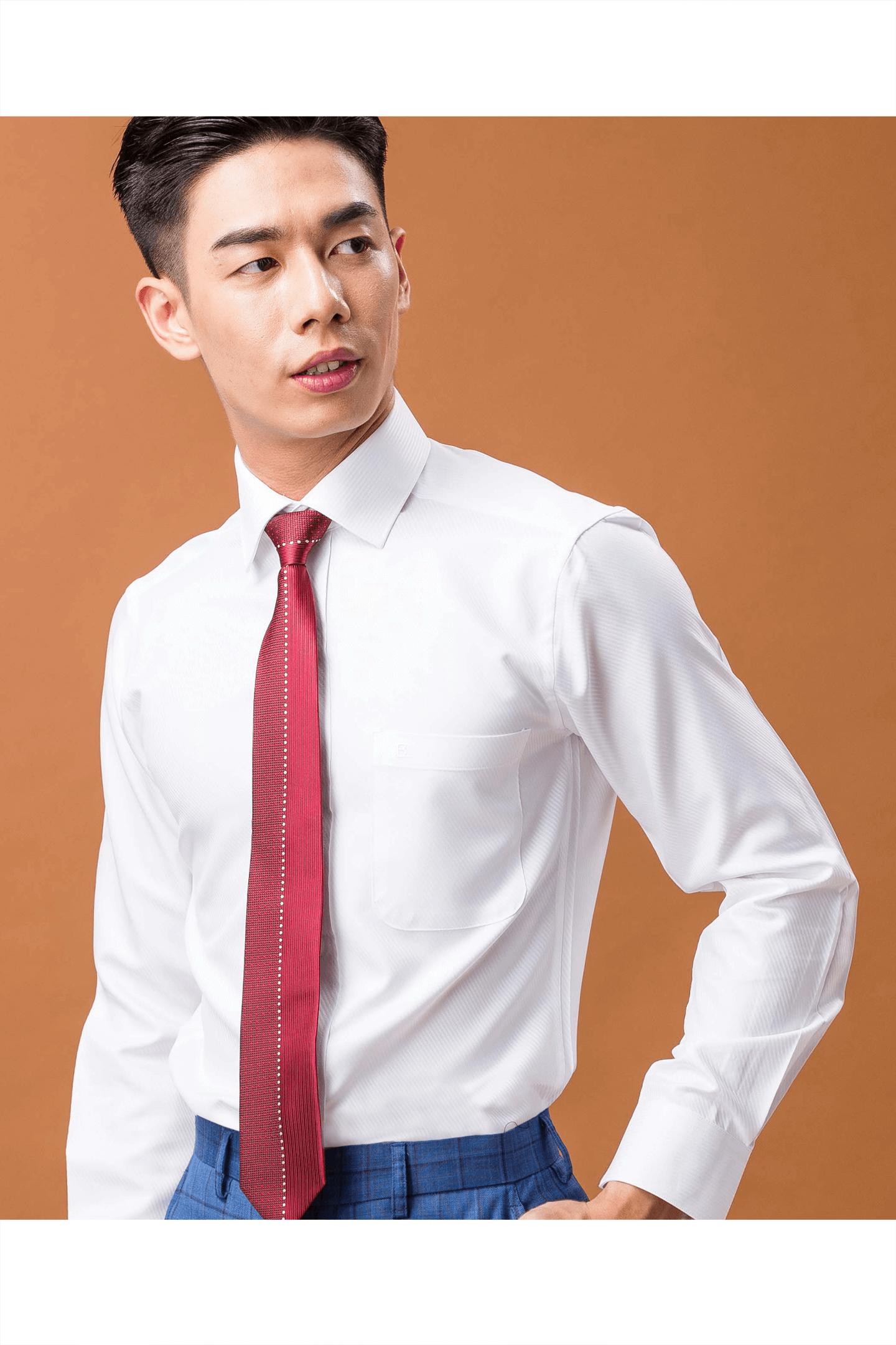 白色雙斜紋長袖襯衫/抗皺 吸濕排汗<br />