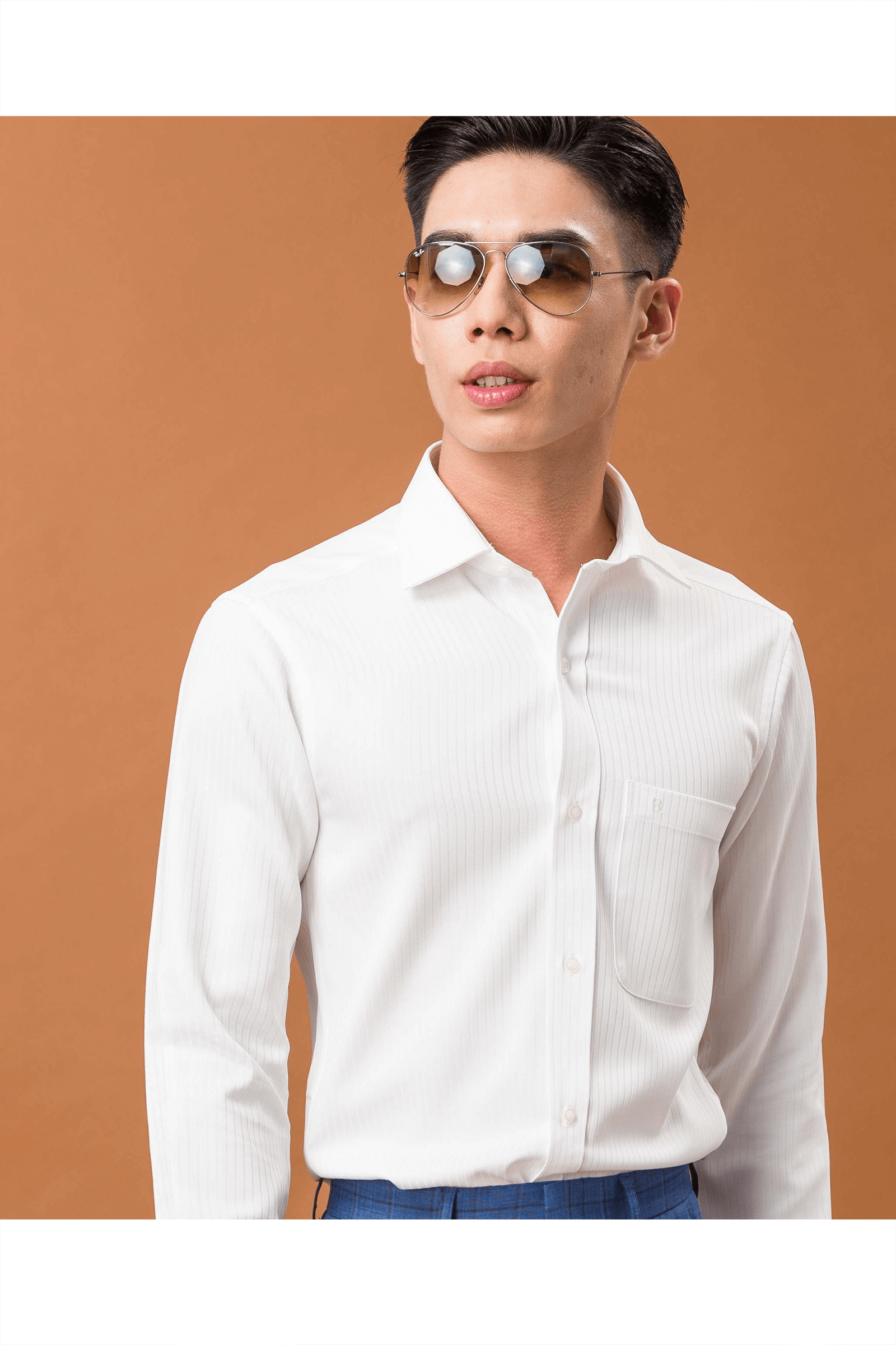 白色粗緹花長袖襯衫/抗皺 吸濕排汗<br />