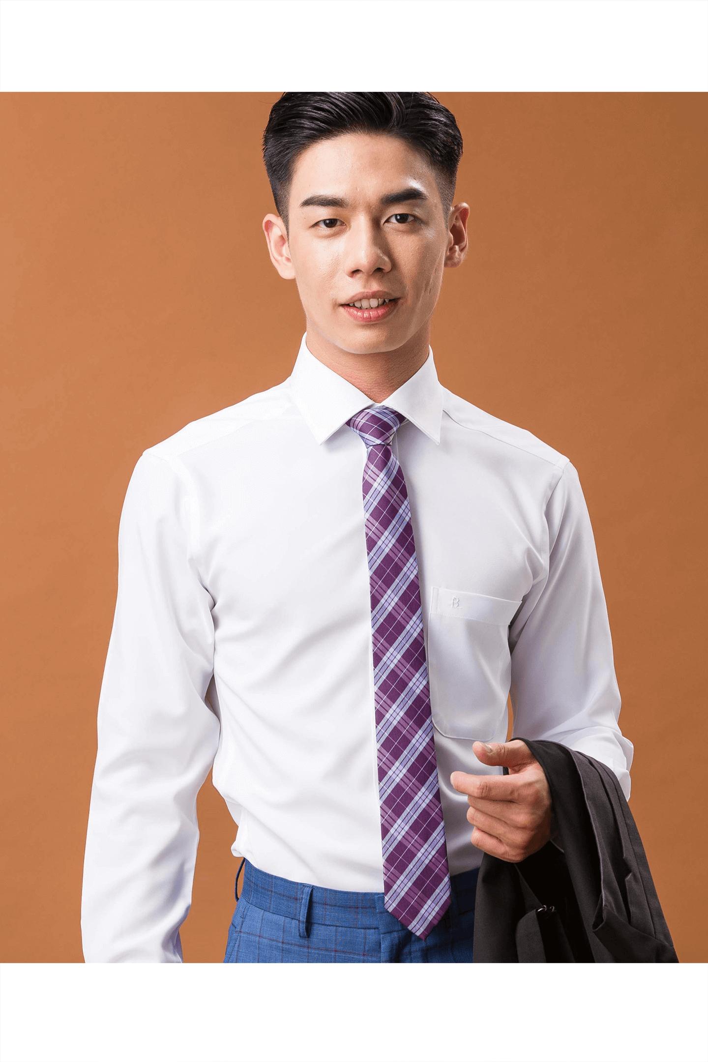 純白素面長袖襯衫/抗皺 吸濕排汗