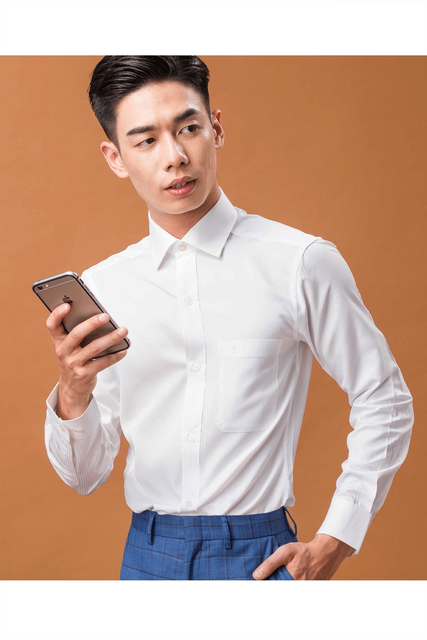 純白直紋緹花長袖襯衫/抗皺 吸濕排汗