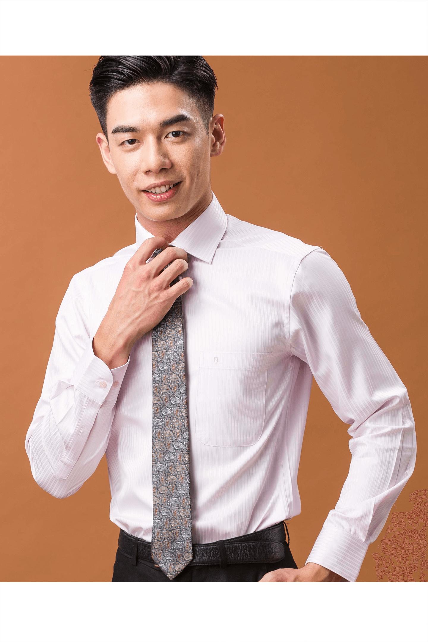 粉色緹花長袖襯衫/抗皺 吸濕排汗<br />
