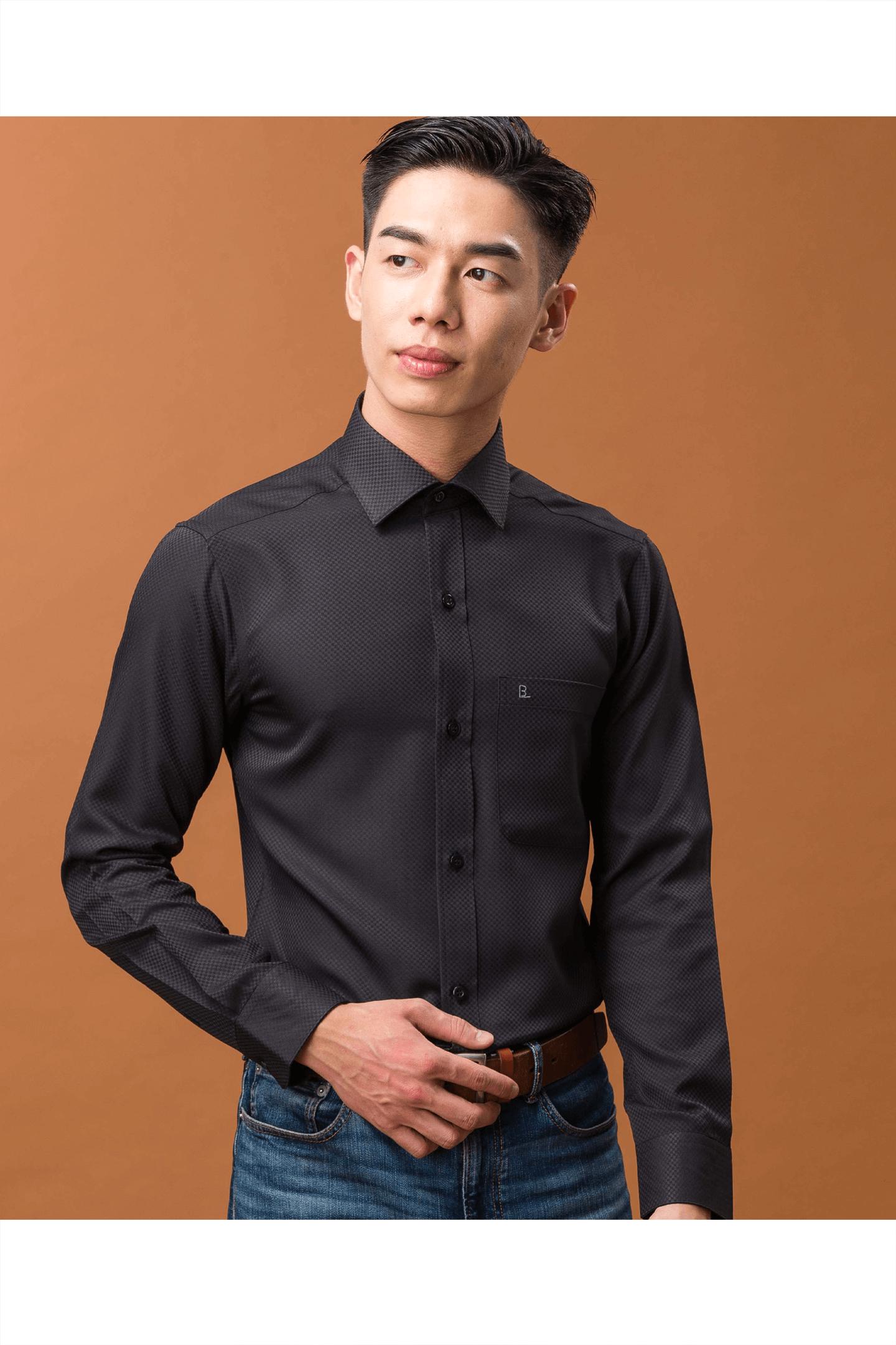 黑色菱格紋長袖襯衫/抗皺 吸濕排汗<br />