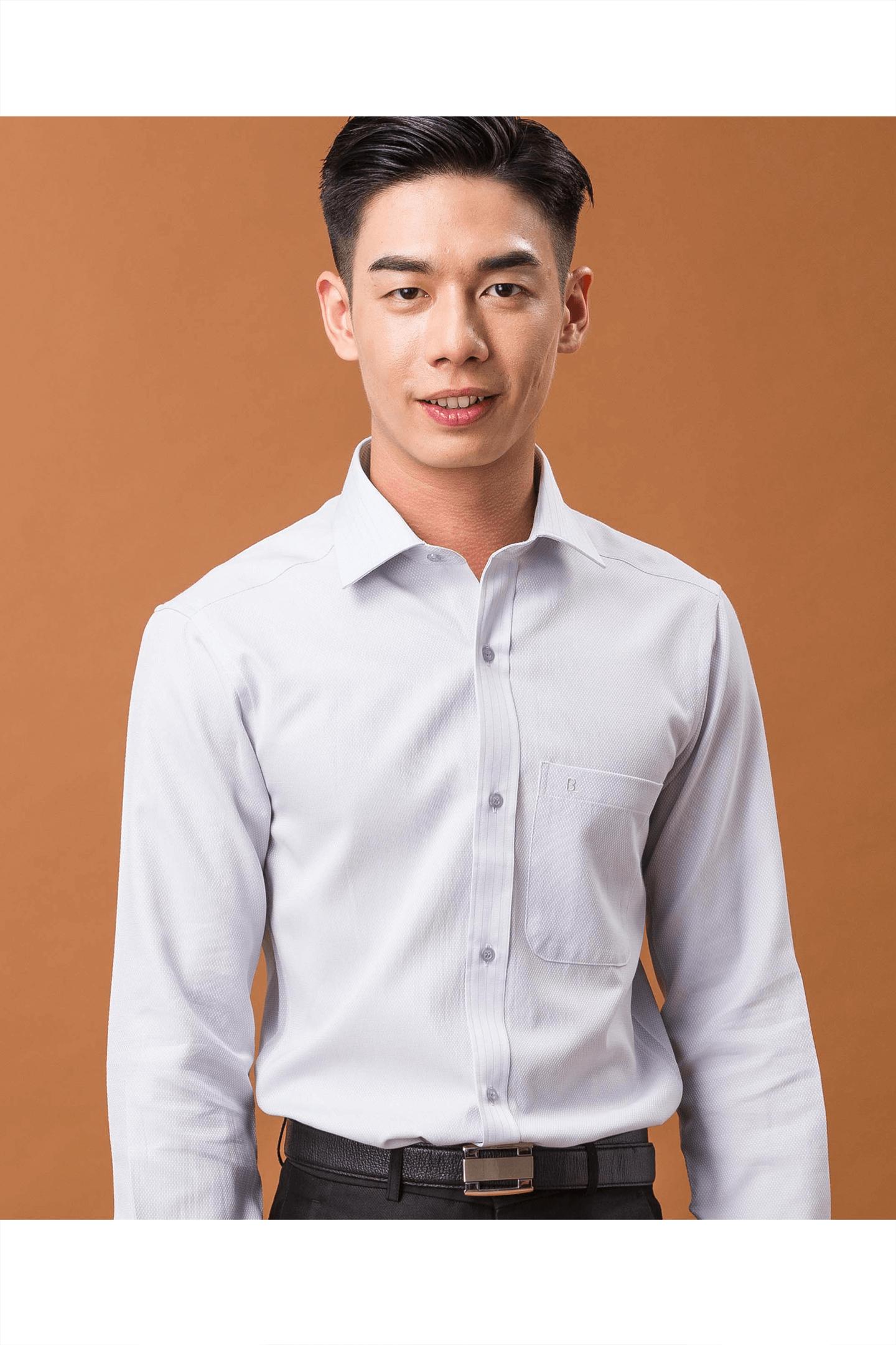 淺灰蟒紋定位棉質長袖襯衫/舒適透氣