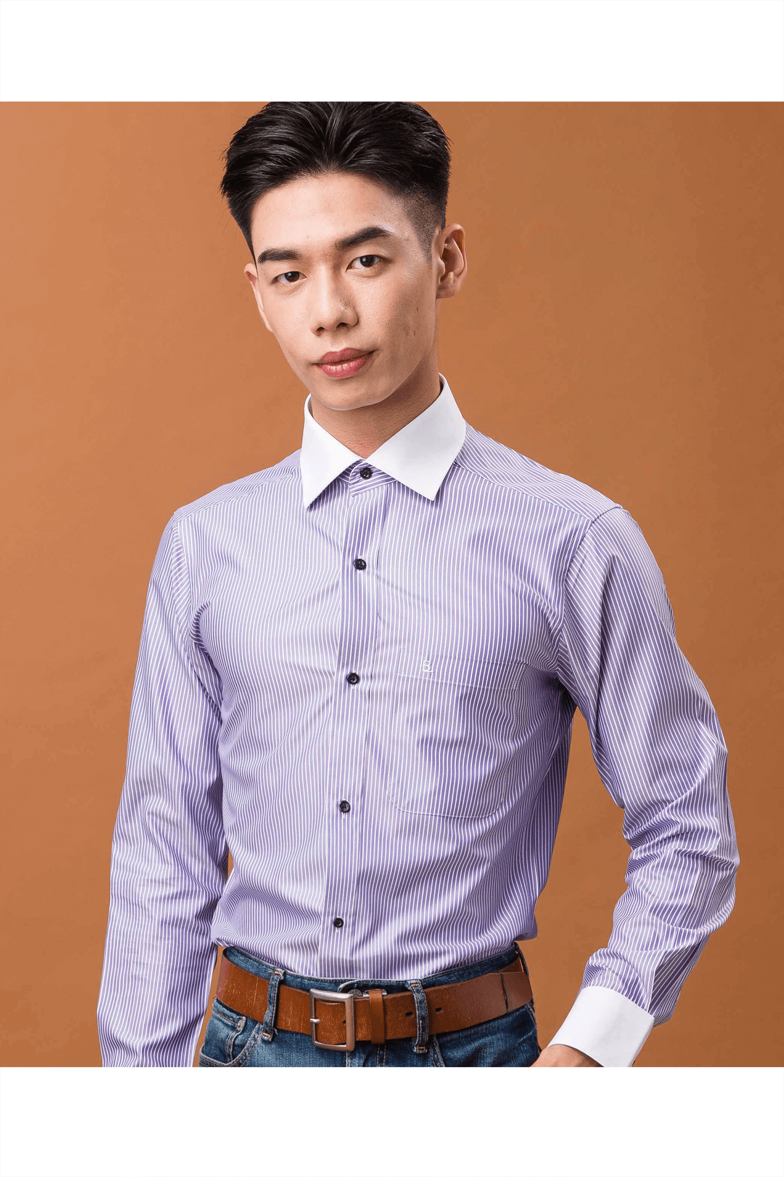 深紫配領長袖襯衫/抗皺 吸濕排汗 <br />