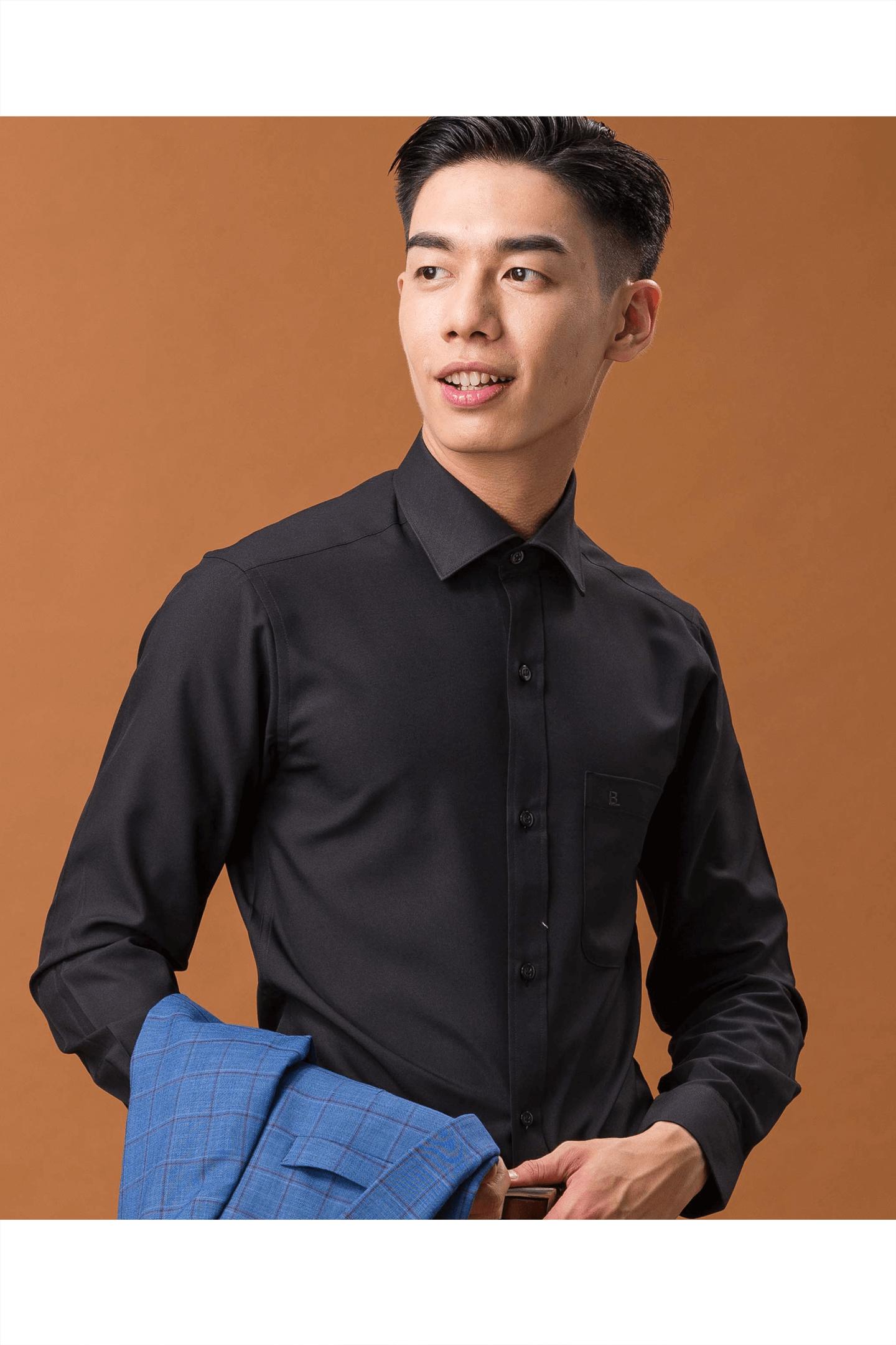 黑色素面長袖襯衫/抗皺 吸濕排汗