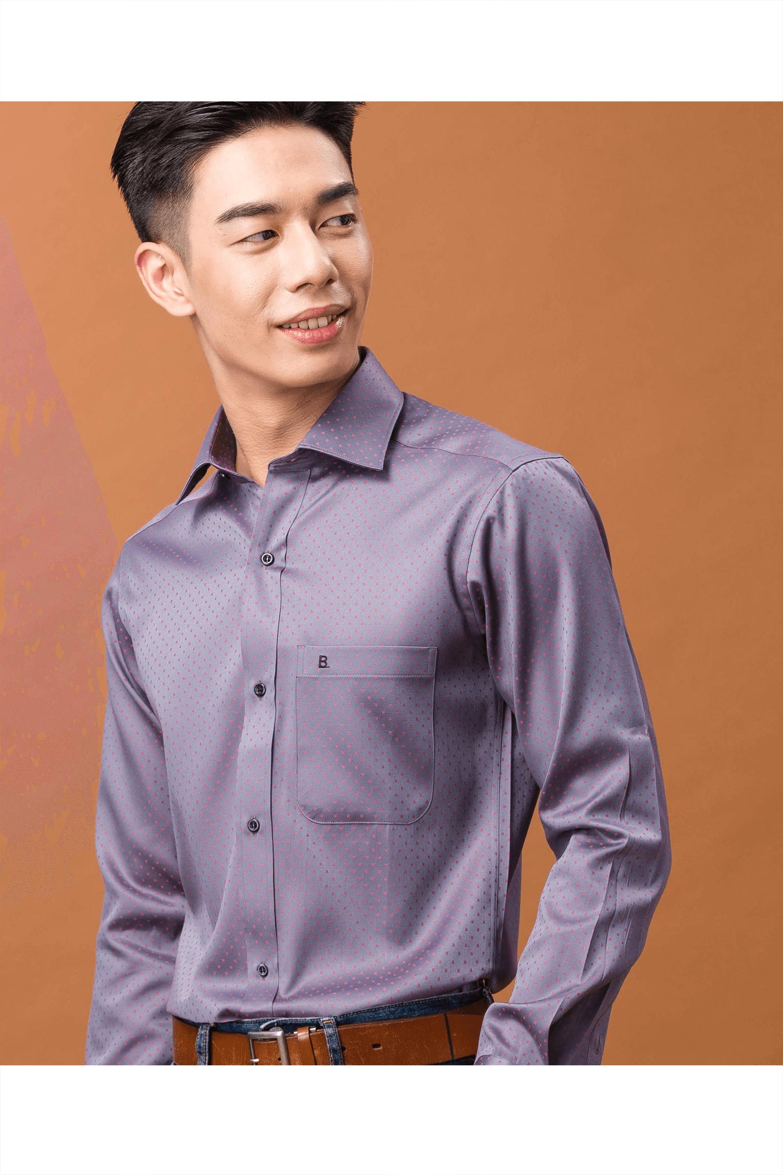 灰底紅格棉質長袖襯衫/舒適透氣<br />
