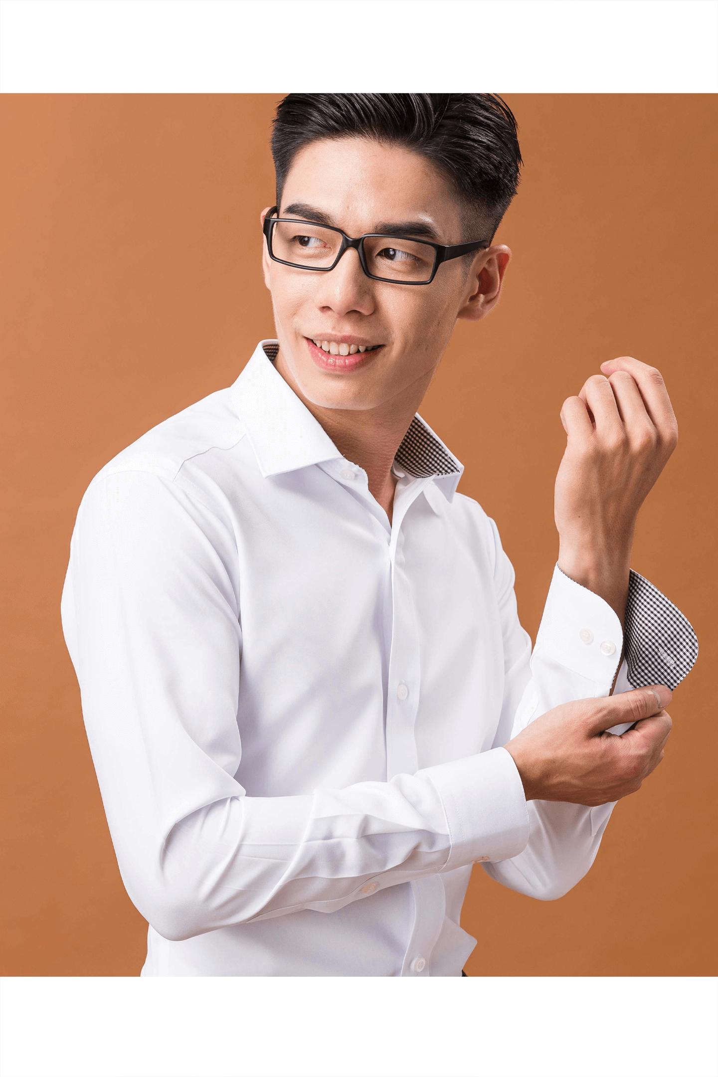 白色格領長袖襯衫/ 抗皺 吸濕排汗