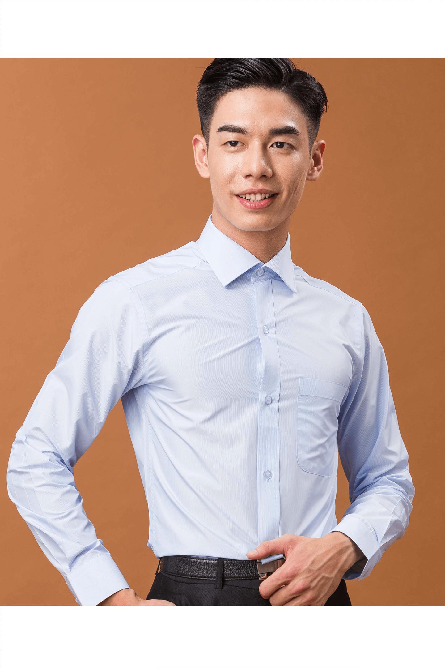 藍色細條紋長袖襯衫/抗皺 吸濕排汗<br />
