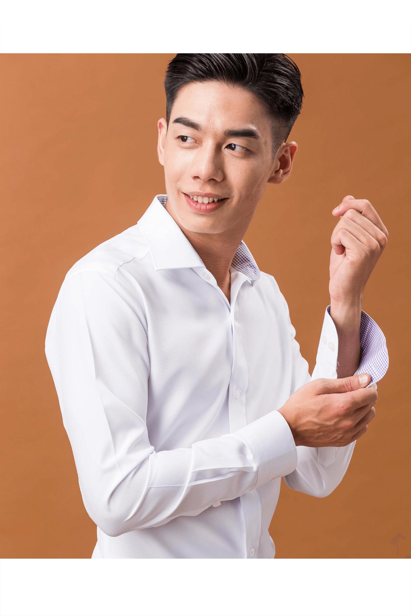 白色配色長袖襯衫/抗皺 吸濕排汗 (無口袋)<br />