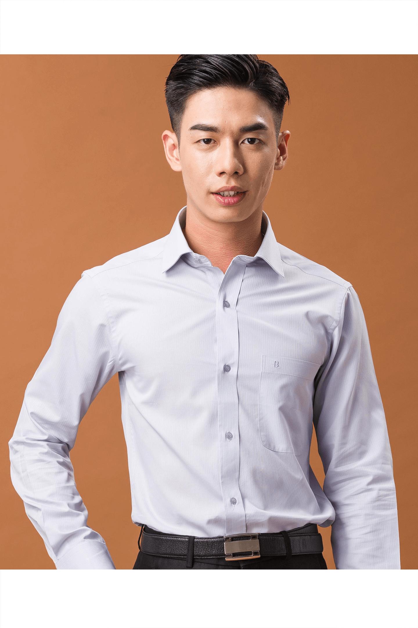 淺灰色緹花棉質長袖襯衫/舒適透氣<br />