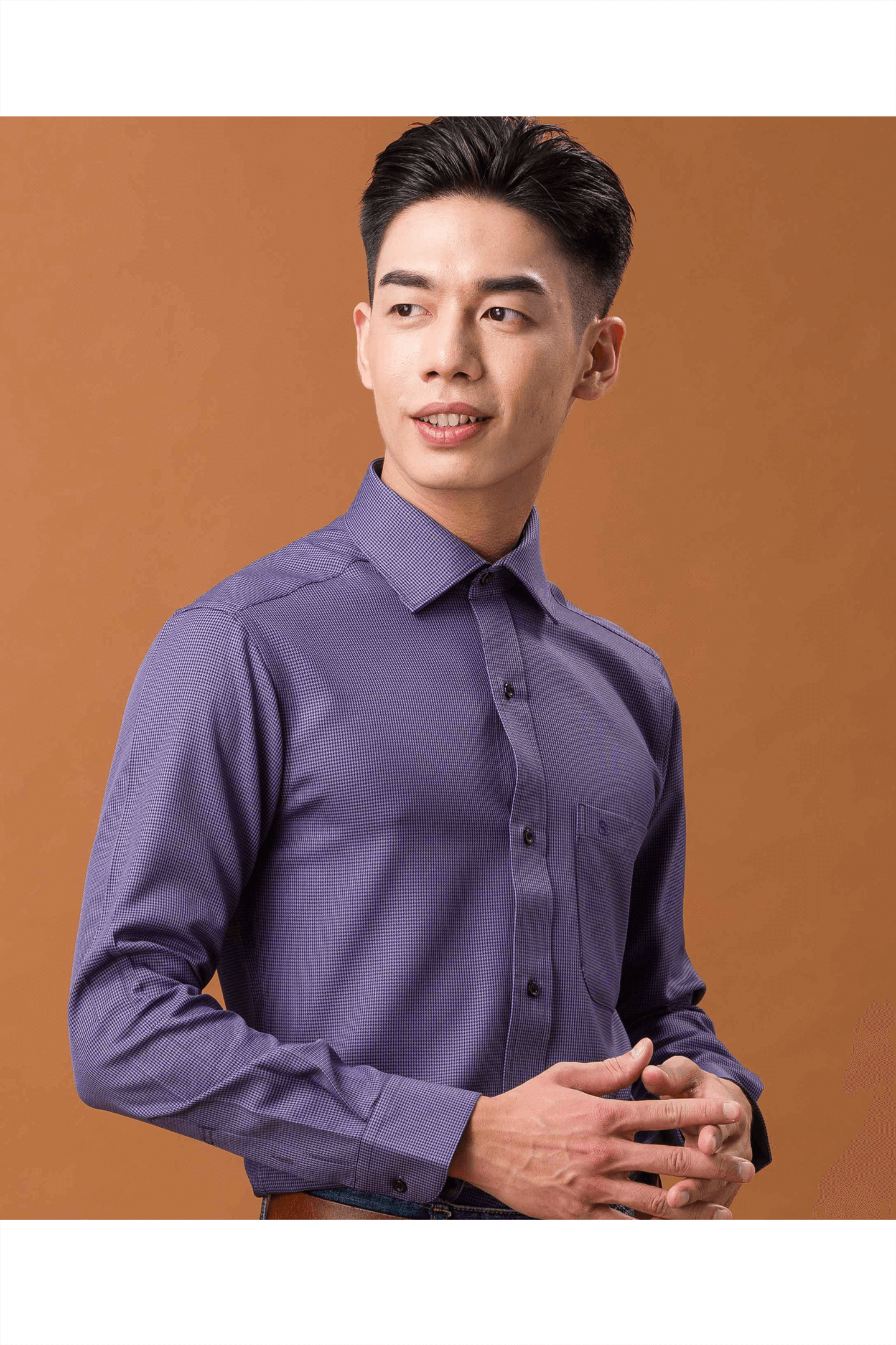 深紫千鳥格長袖襯衫/抗皺 舒適透氣<br />