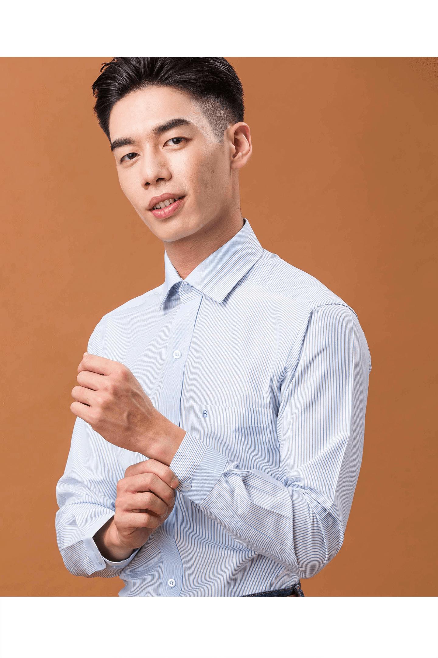 藍黑條紋定位長袖襯衫/抗皺 吸濕排汗