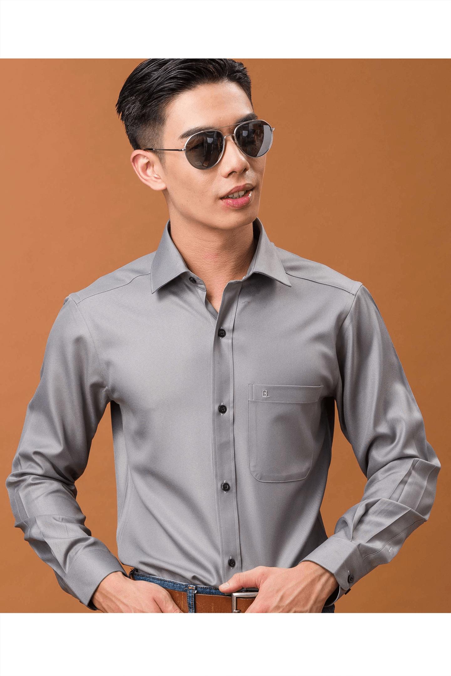 灰色斜紋長袖襯衫/抗皺 舒適透氣<br />