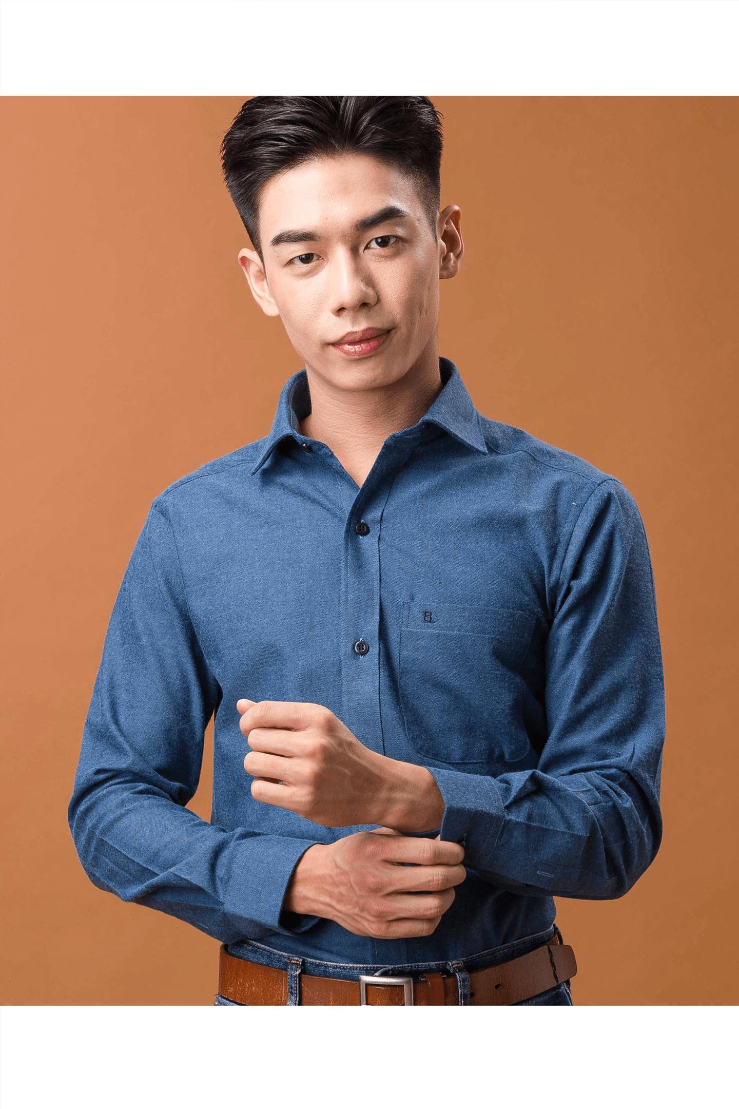 深藍素面保暖磨毛長袖襯衫/保暖 吸濕排汗/修身