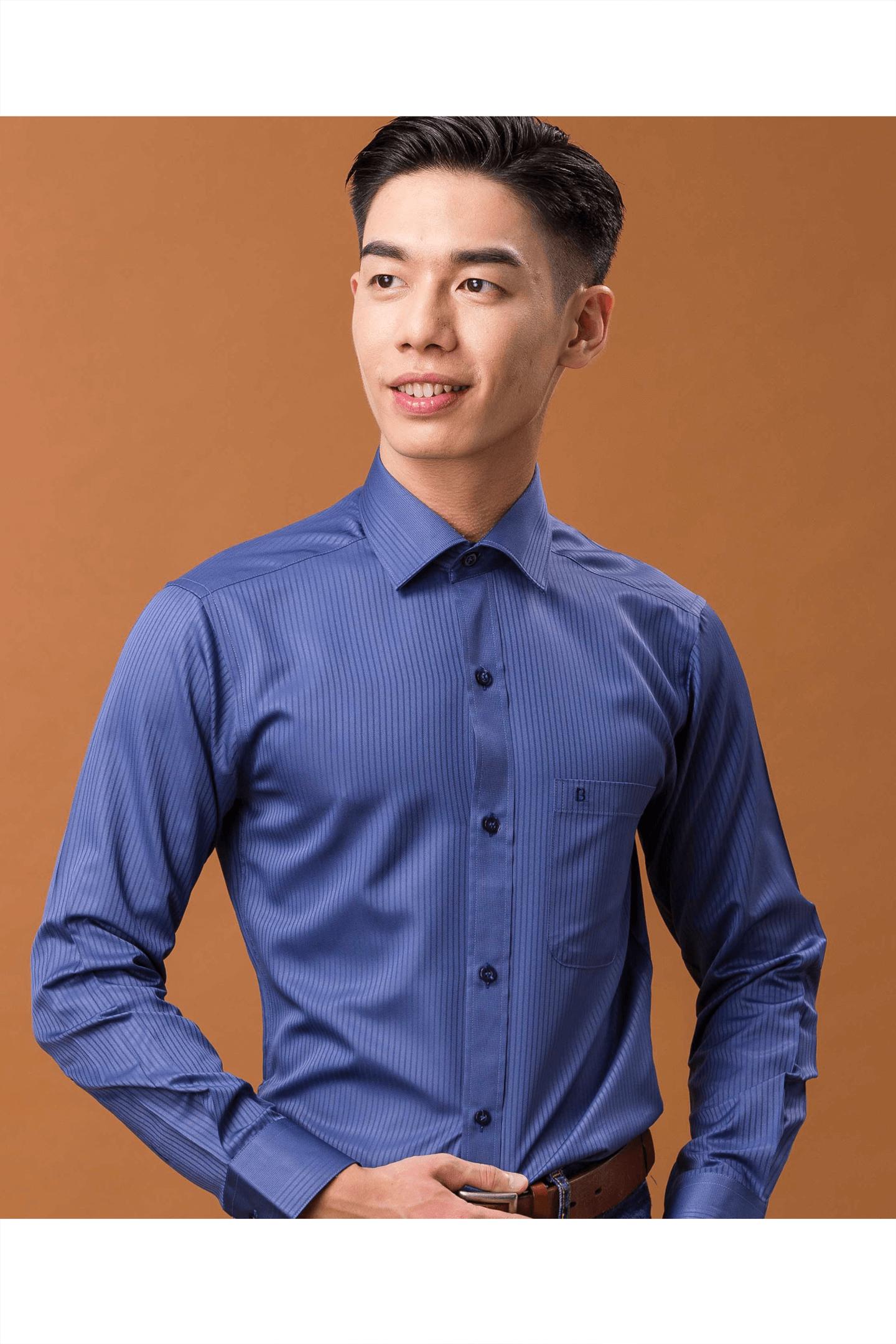 深藍色緹花素面定位長袖襯衫/抗皺 吸濕排汗<br />