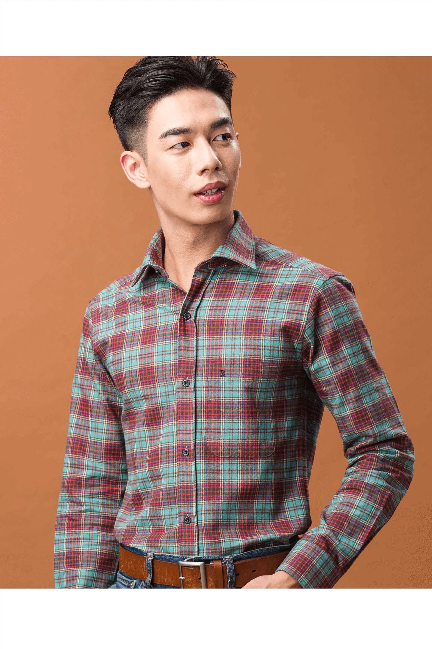 磨毛純棉長袖襯衫(綠紅格)/ 舒適保暖/修身