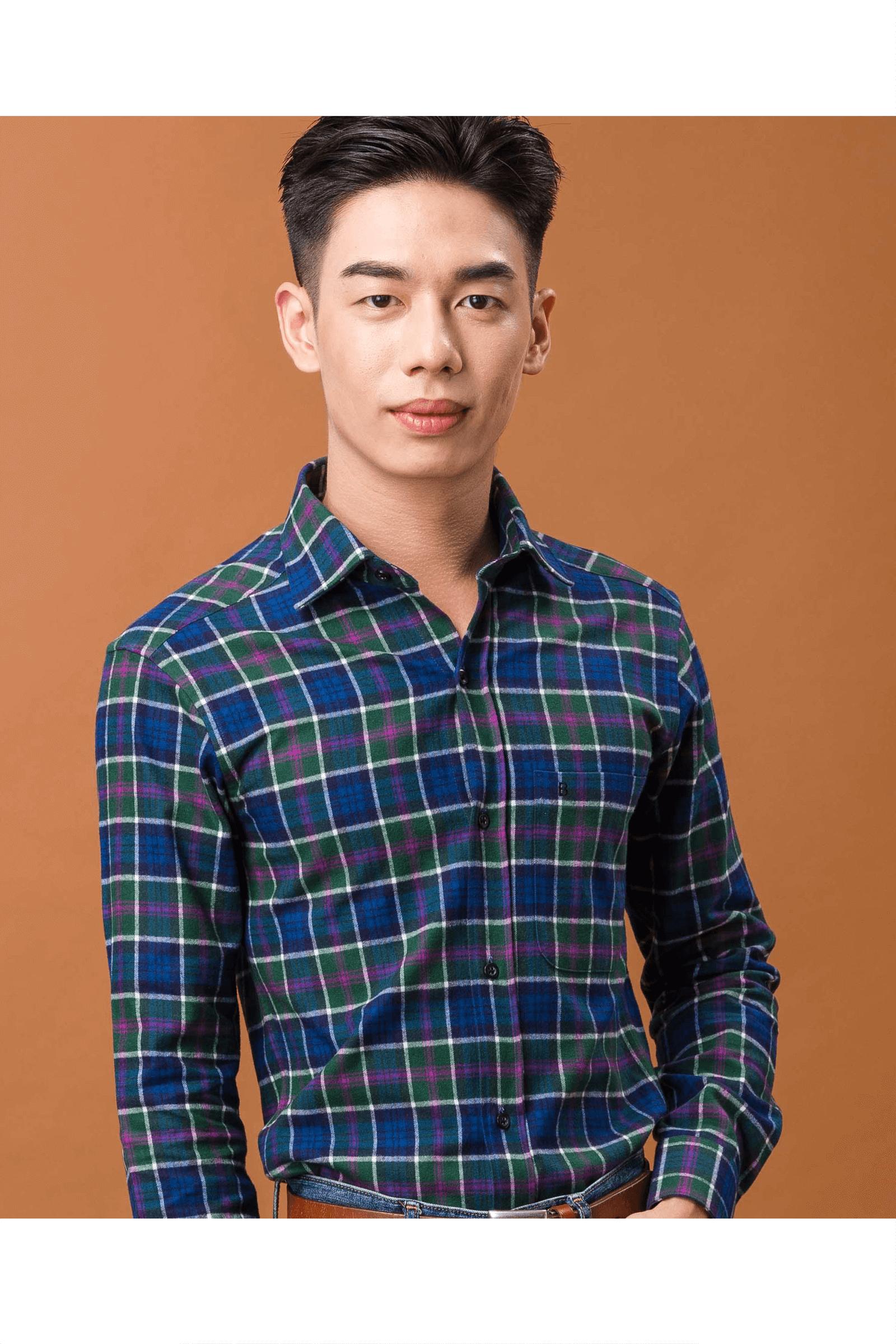 磨毛純棉長袖襯衫(綠藍格)/ 舒適保暖<br />