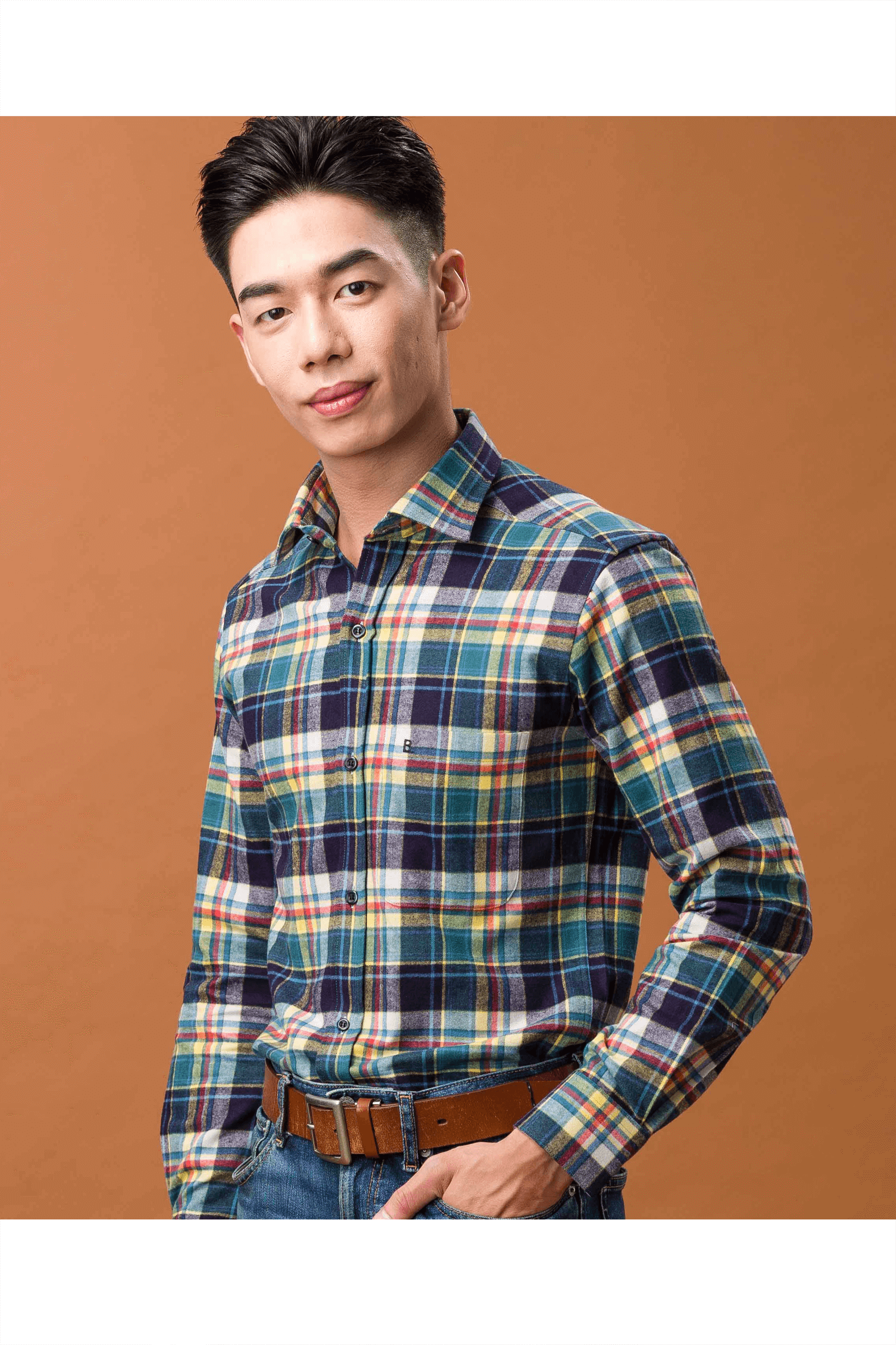 磨毛純棉長袖襯衫(綠黃格)/ 舒適保暖/修身