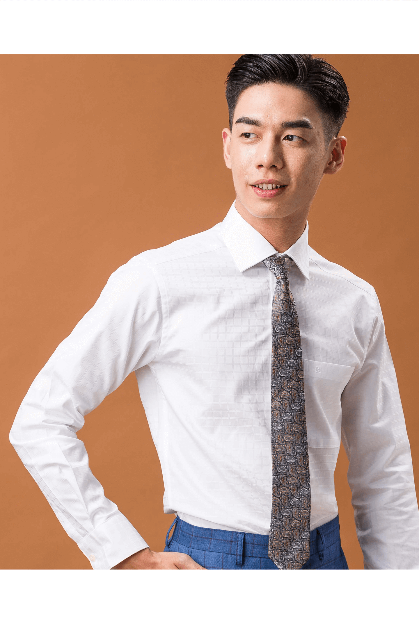 白色方格紋純棉長袖襯衫/舒適透氣