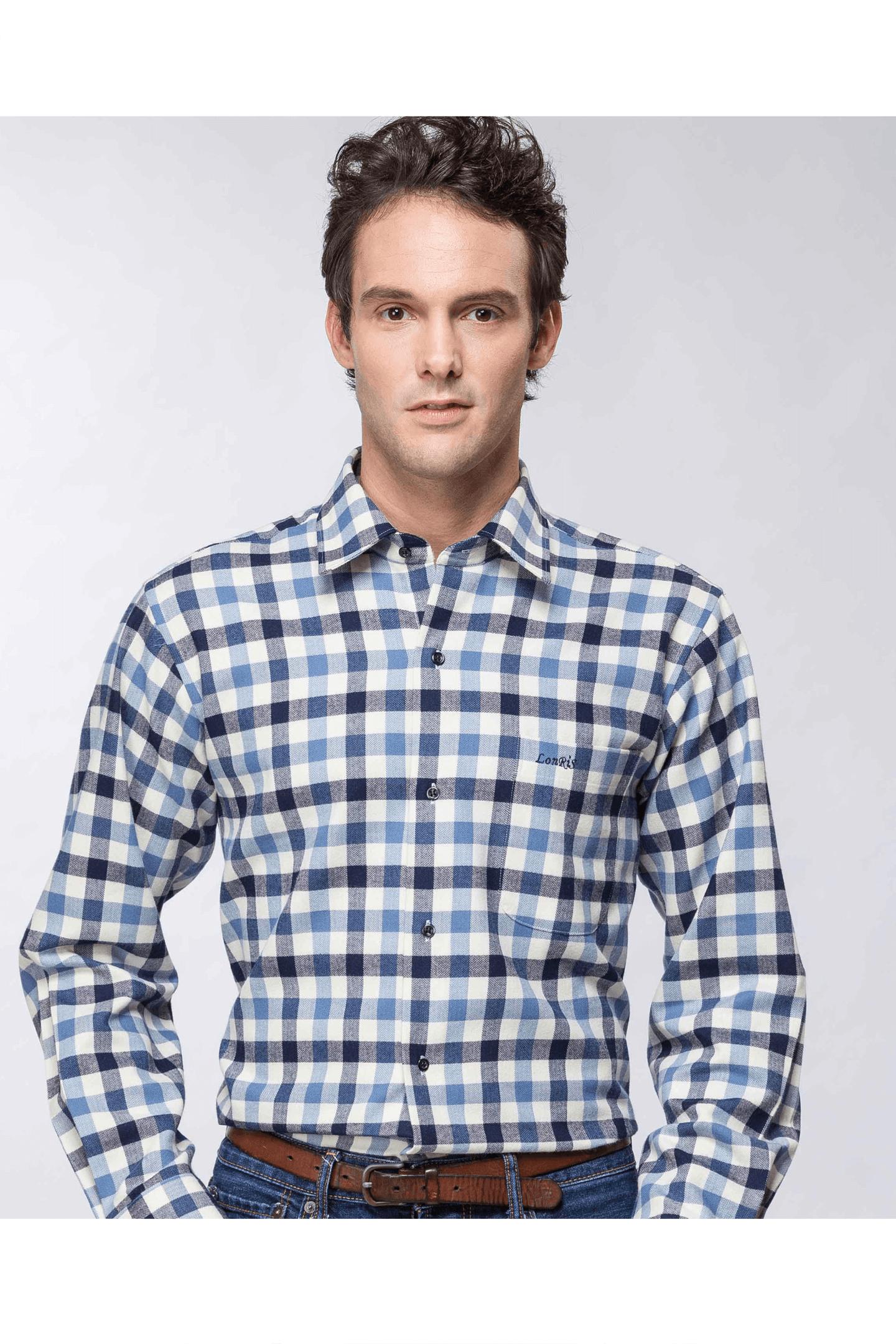 雙色格紋保暖長袖襯衫(藍白 ) / 保暖 舒適透氣