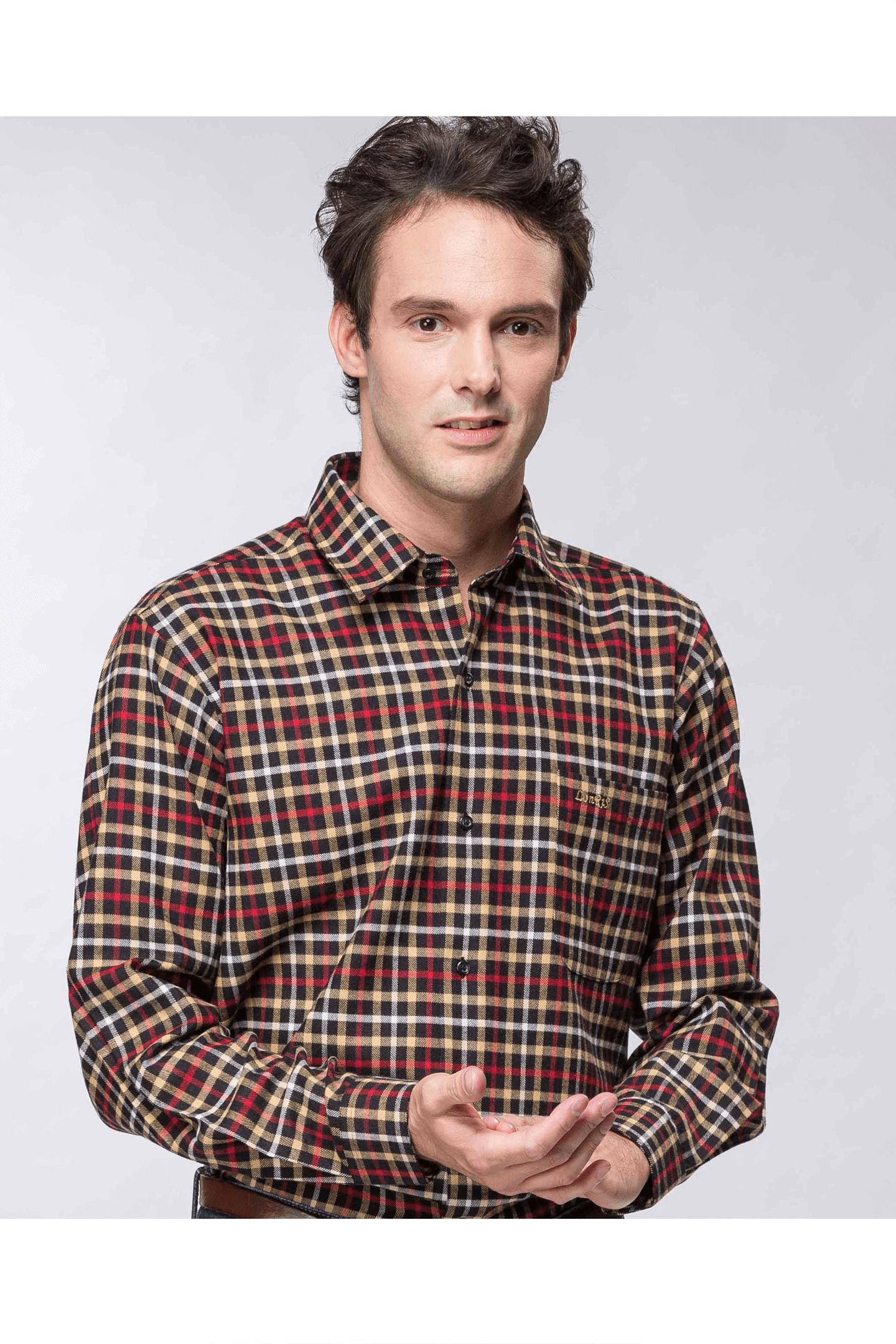 雙色格紋保暖長袖襯衫(紅黃 ) / 保暖 舒適透氣
