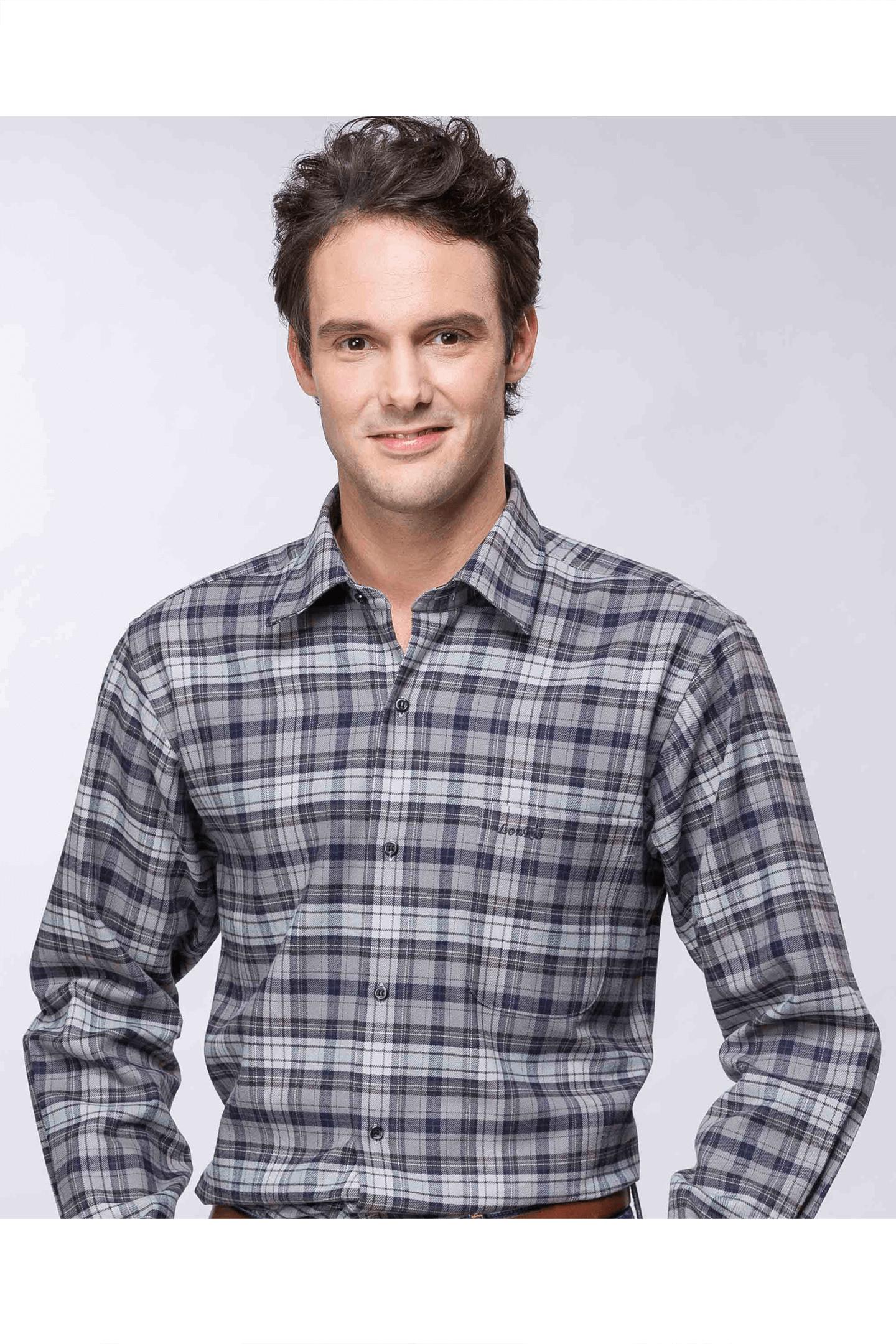 雙色格紋保暖長袖襯衫(灰黑 ) / 保暖 舒適透氣