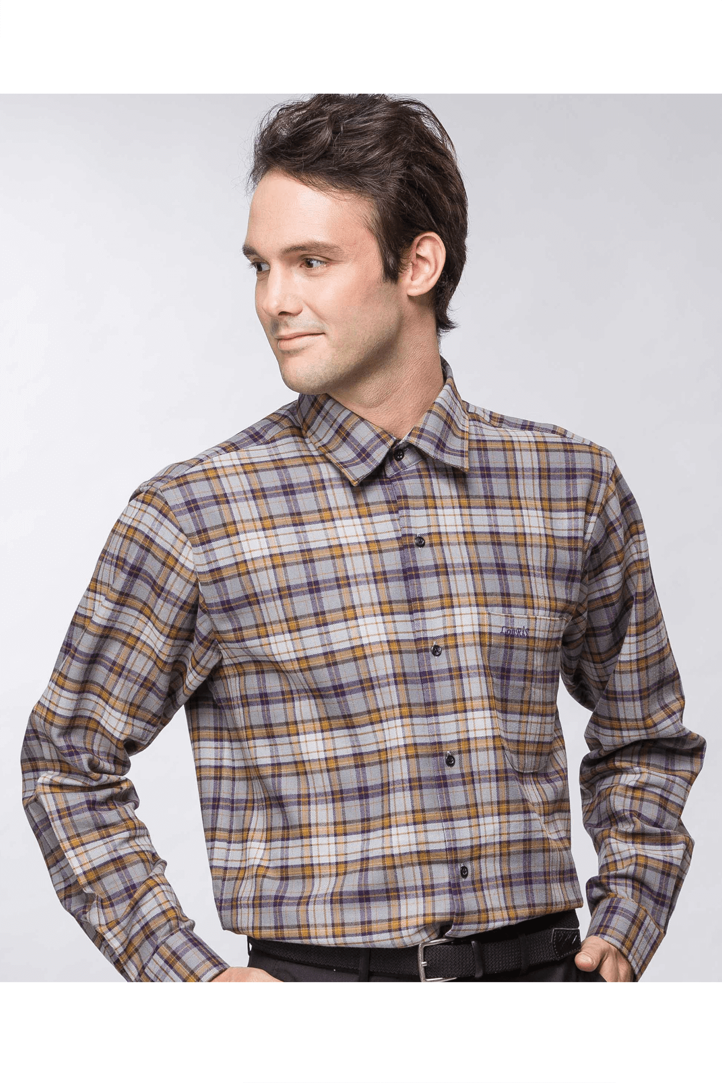 雙色格紋保暖長袖襯衫(紫黃 ) / 保暖 舒適透氣
