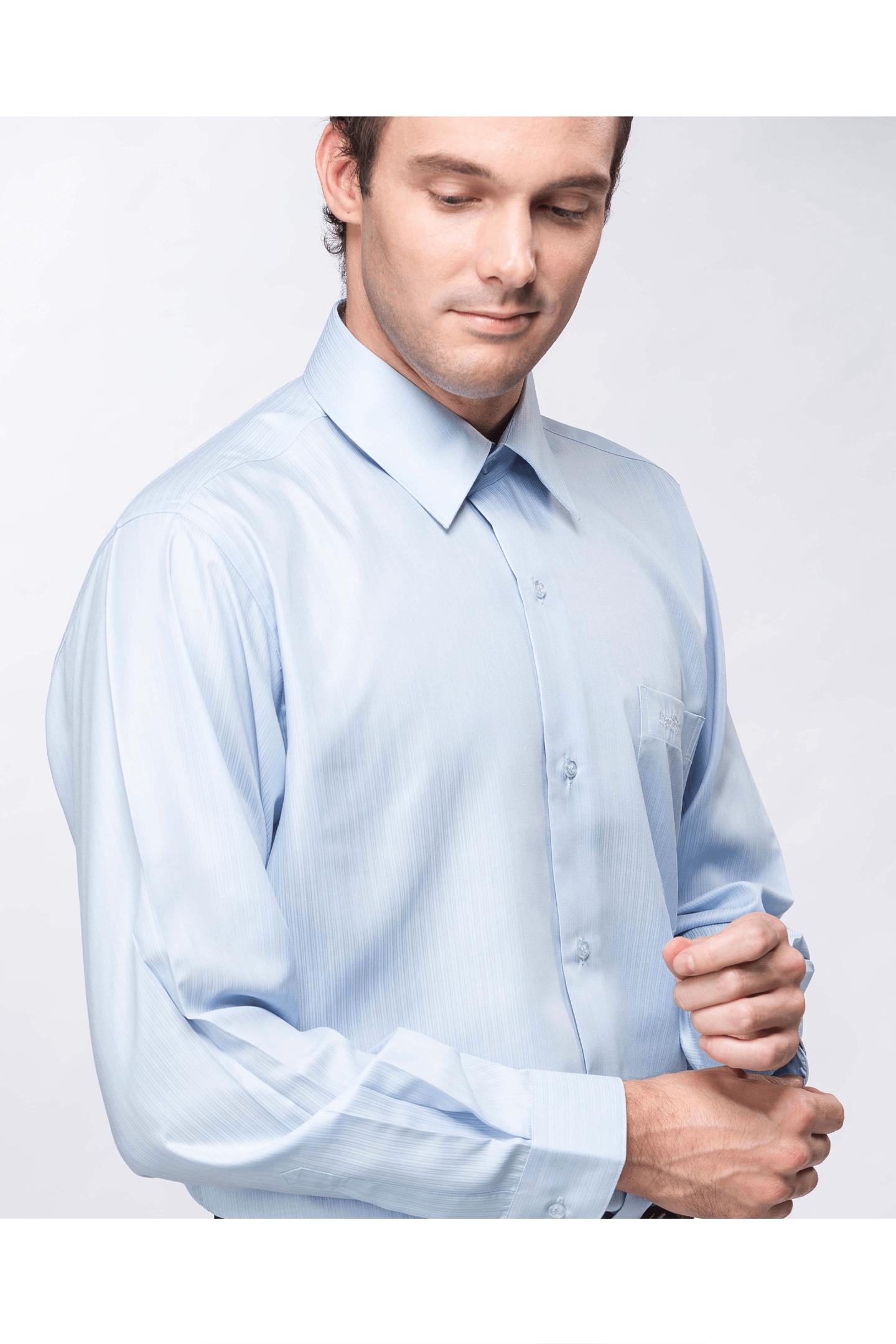 藍色直紋長袖襯衫 / 抗皺 舒適透氣<br />