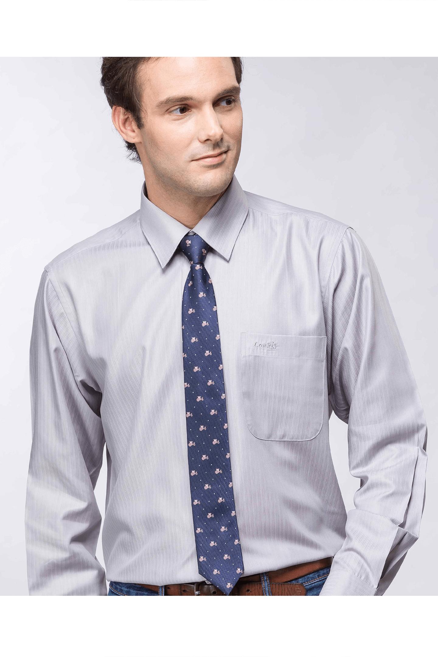 灰色直紋長袖襯衫 / 抗皺 舒適透氣<br />
