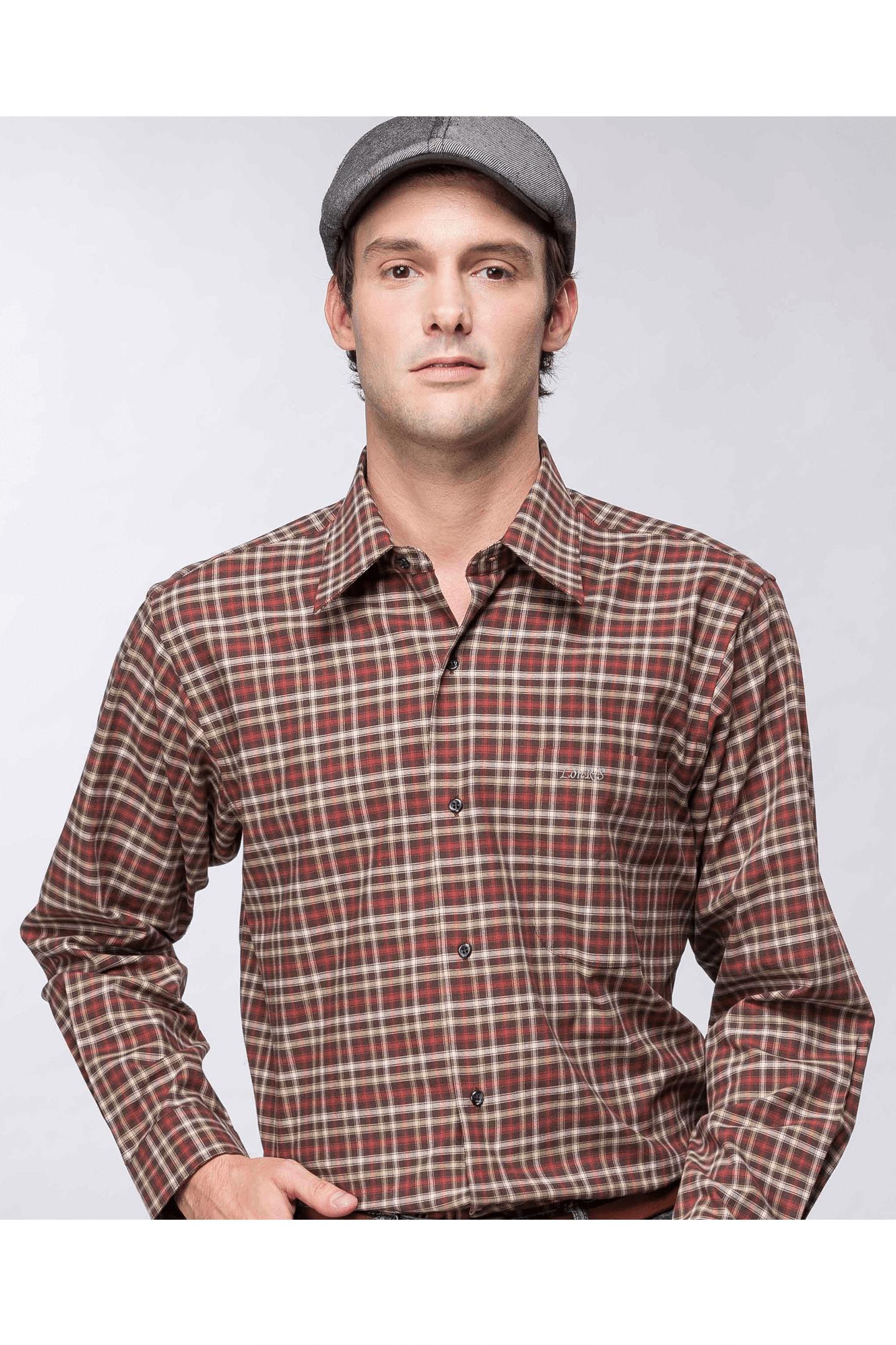 雙色格紋純棉長袖襯衫(紅咖)/舒適透氣<br />