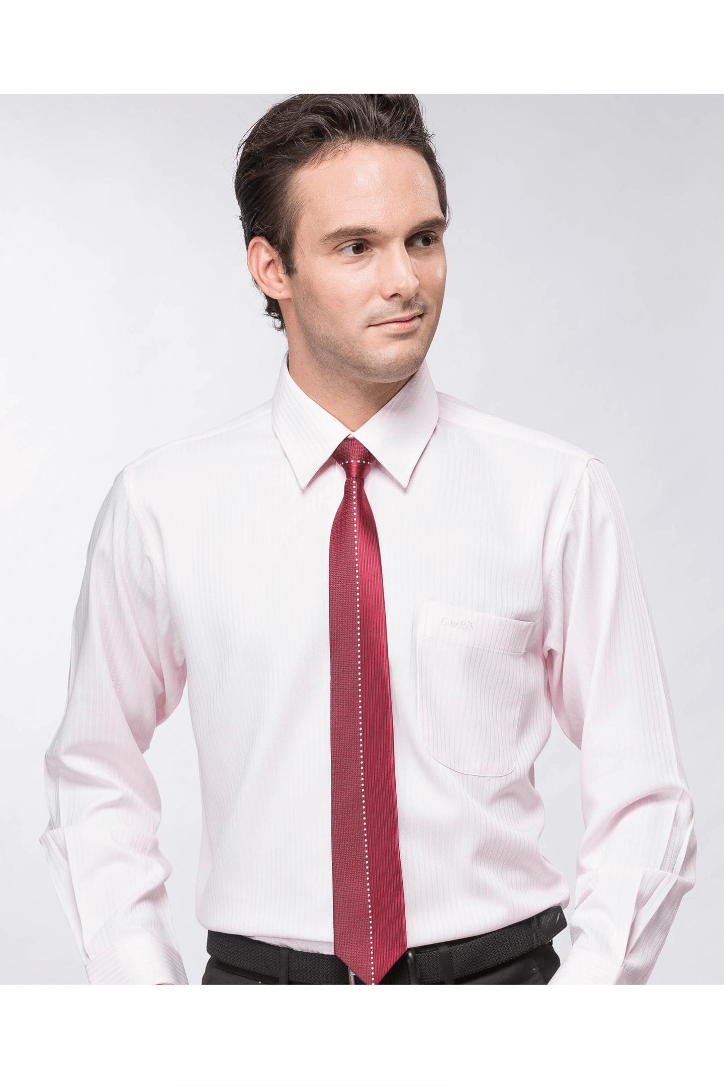 粉色直紋緹花長袖襯衫 / 抗皺 吸濕排汗