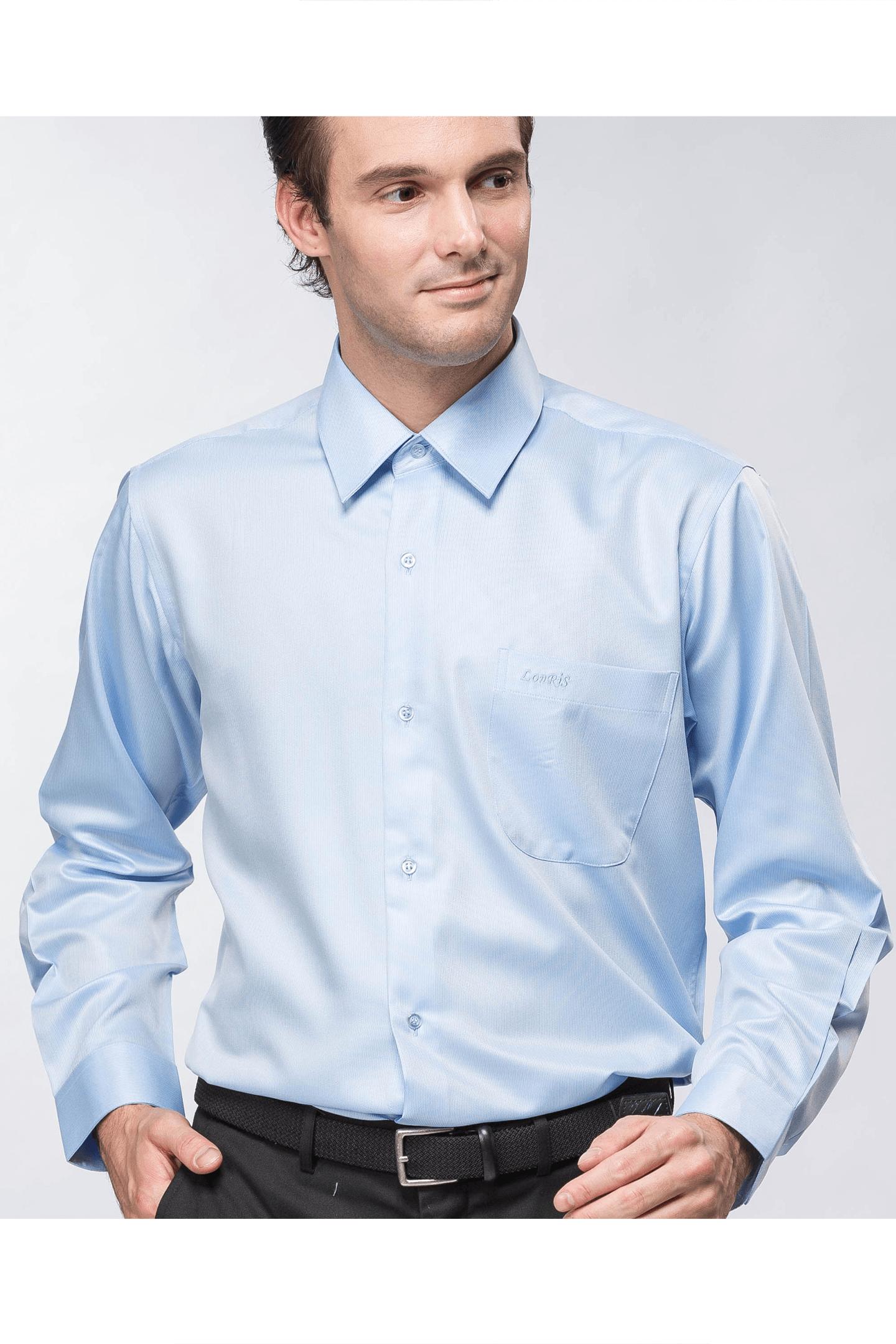 藍色細緹花長袖襯衫 / 抗皺 吸濕排汗 <br />