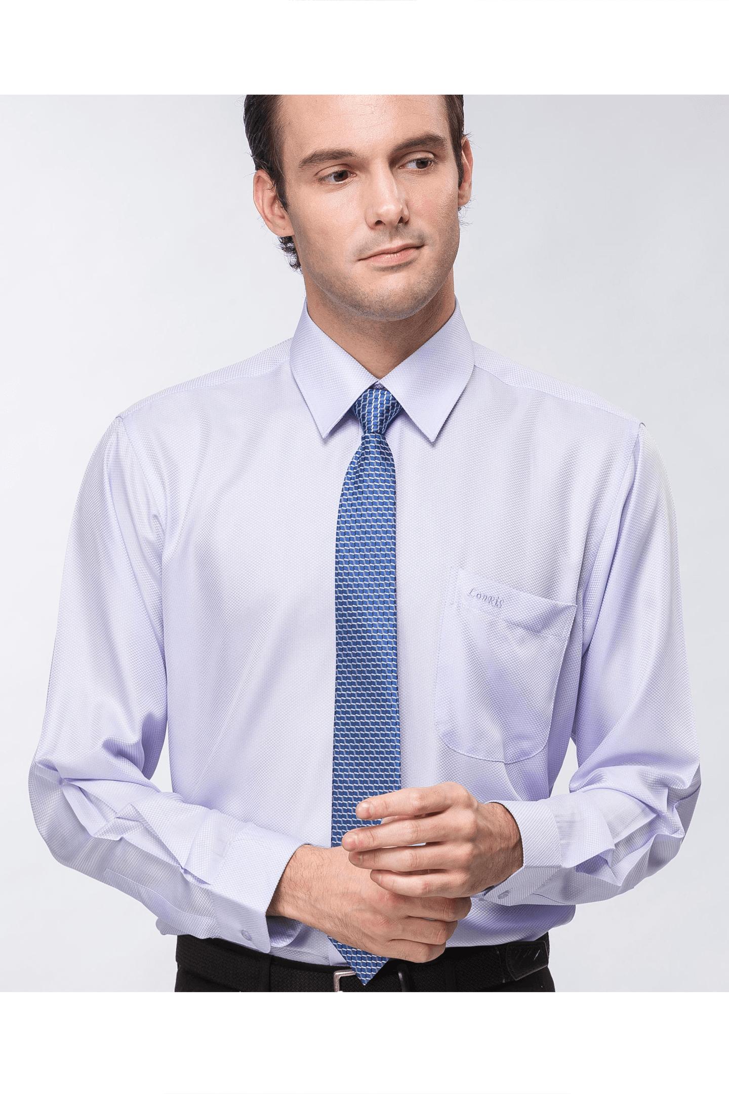 紫色細格長袖襯衫 / 抗皺 吸濕排汗 <br />