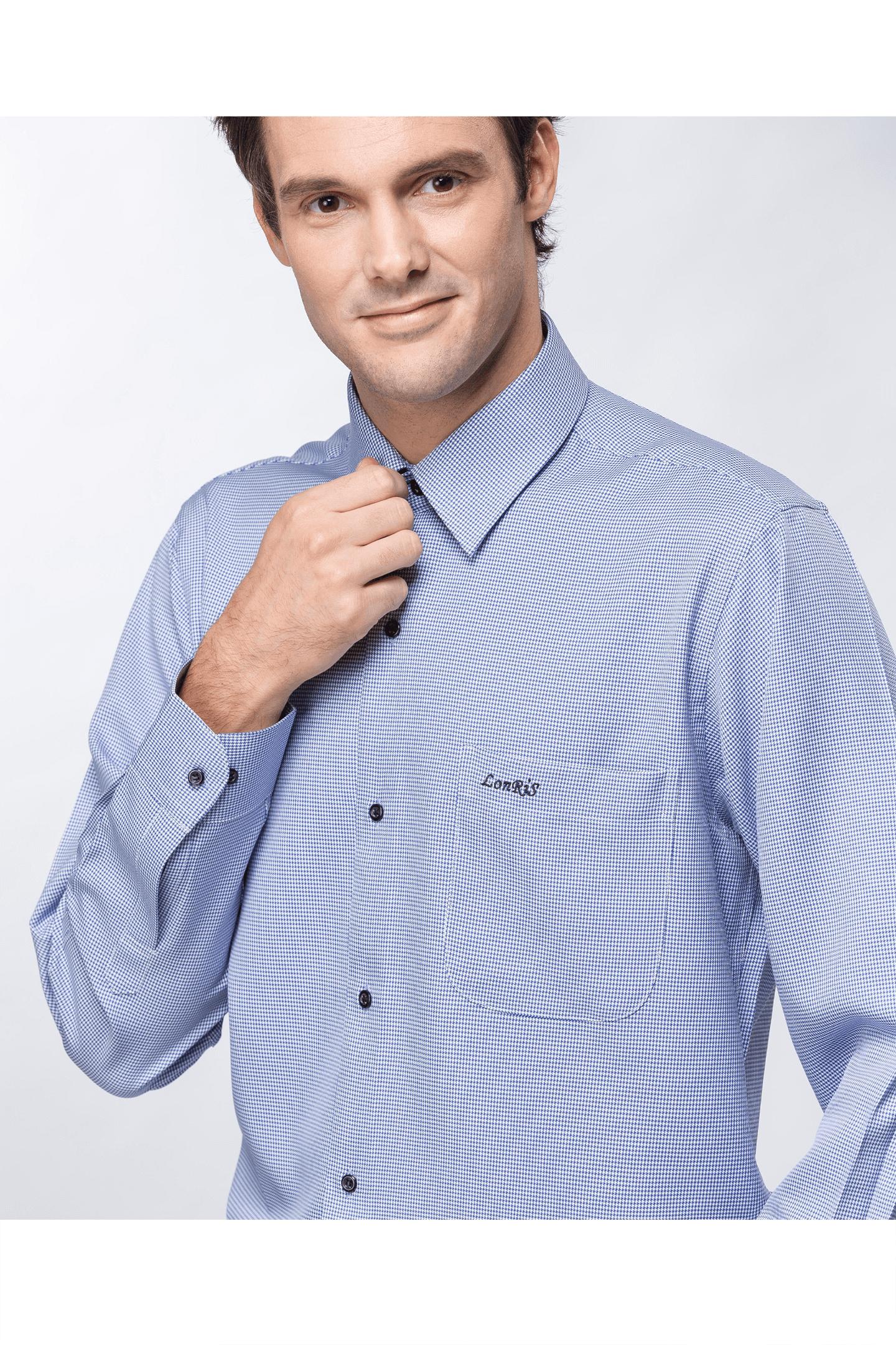 深藍千鳥格長袖襯衫 / 抗皺 吸濕排汗