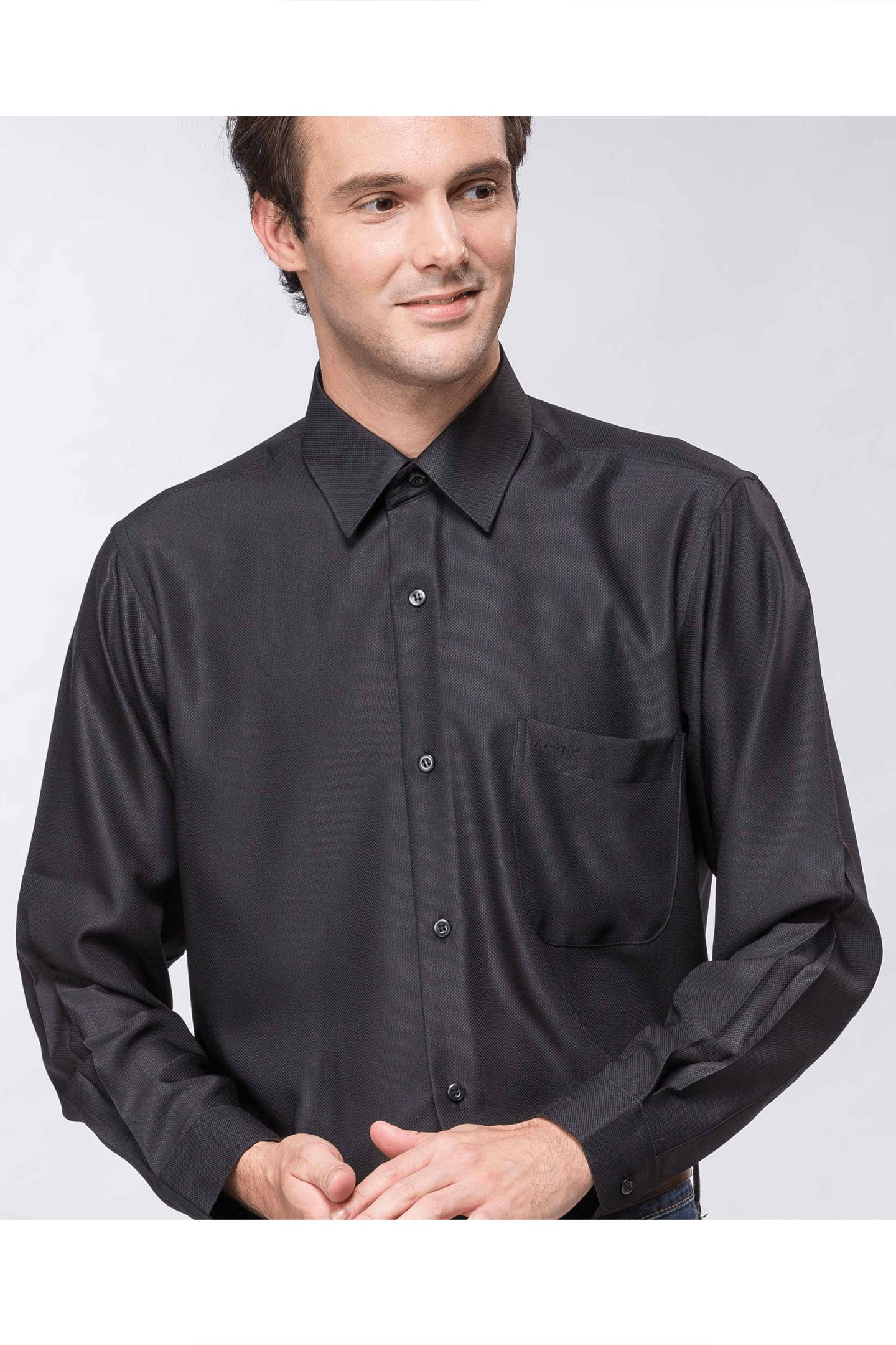 黑色緹花長袖襯衫 / 抗皺 吸濕排汗