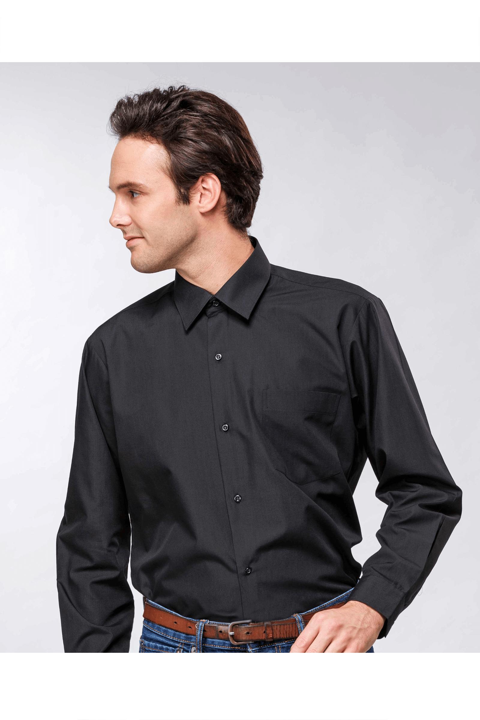 黑色素面棉質長袖襯衫 / 舒適透氣<br />