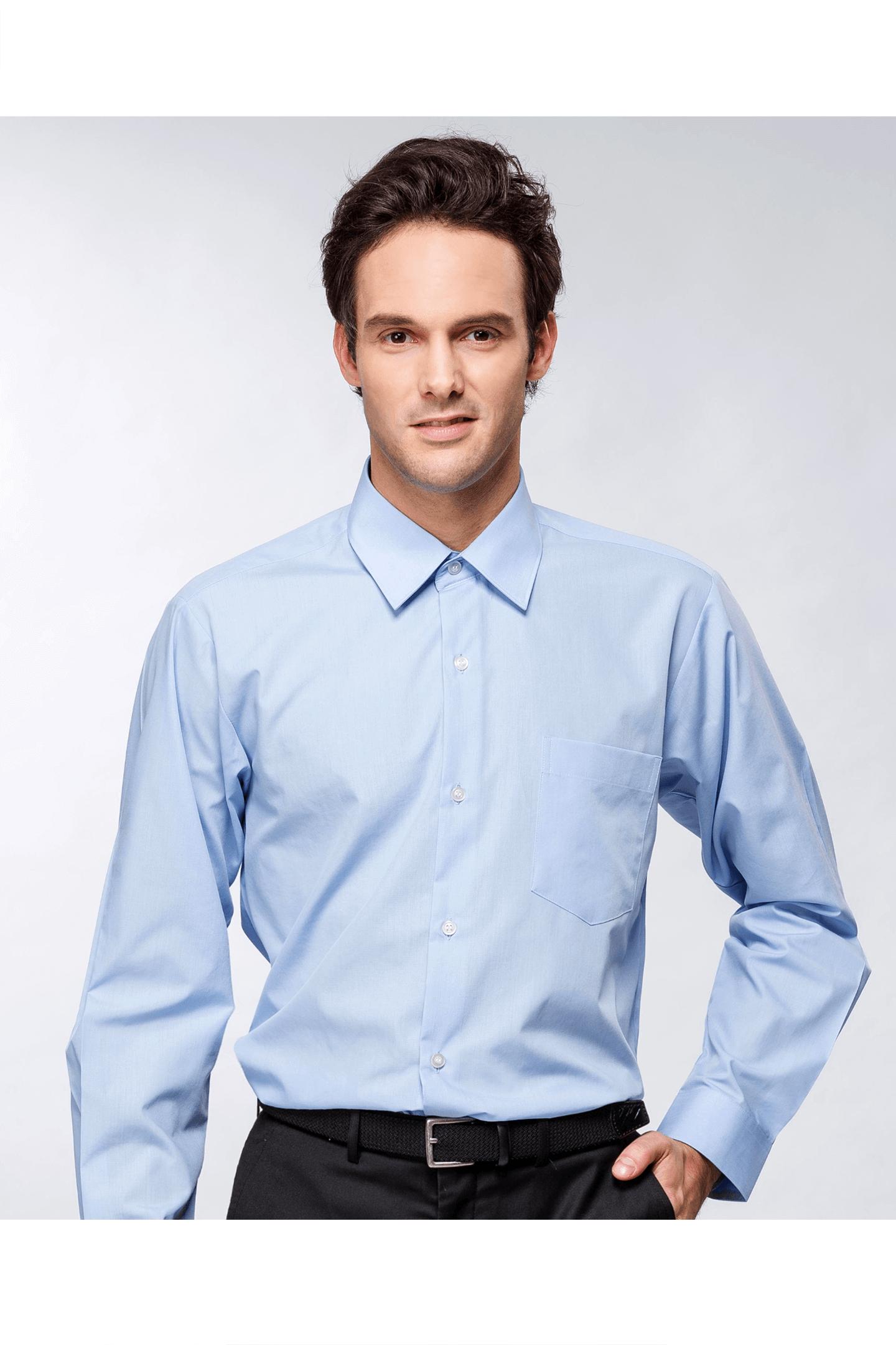 藍色素面棉質長袖襯衫 / 舒適透氣<br />