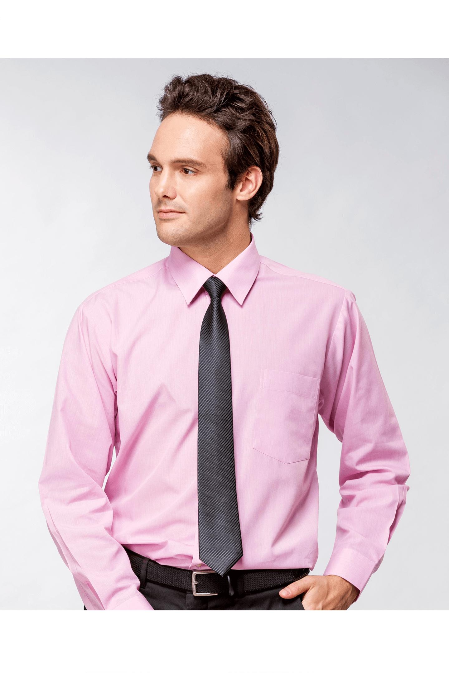 粉色素面棉質長袖襯衫 / 舒適透氣