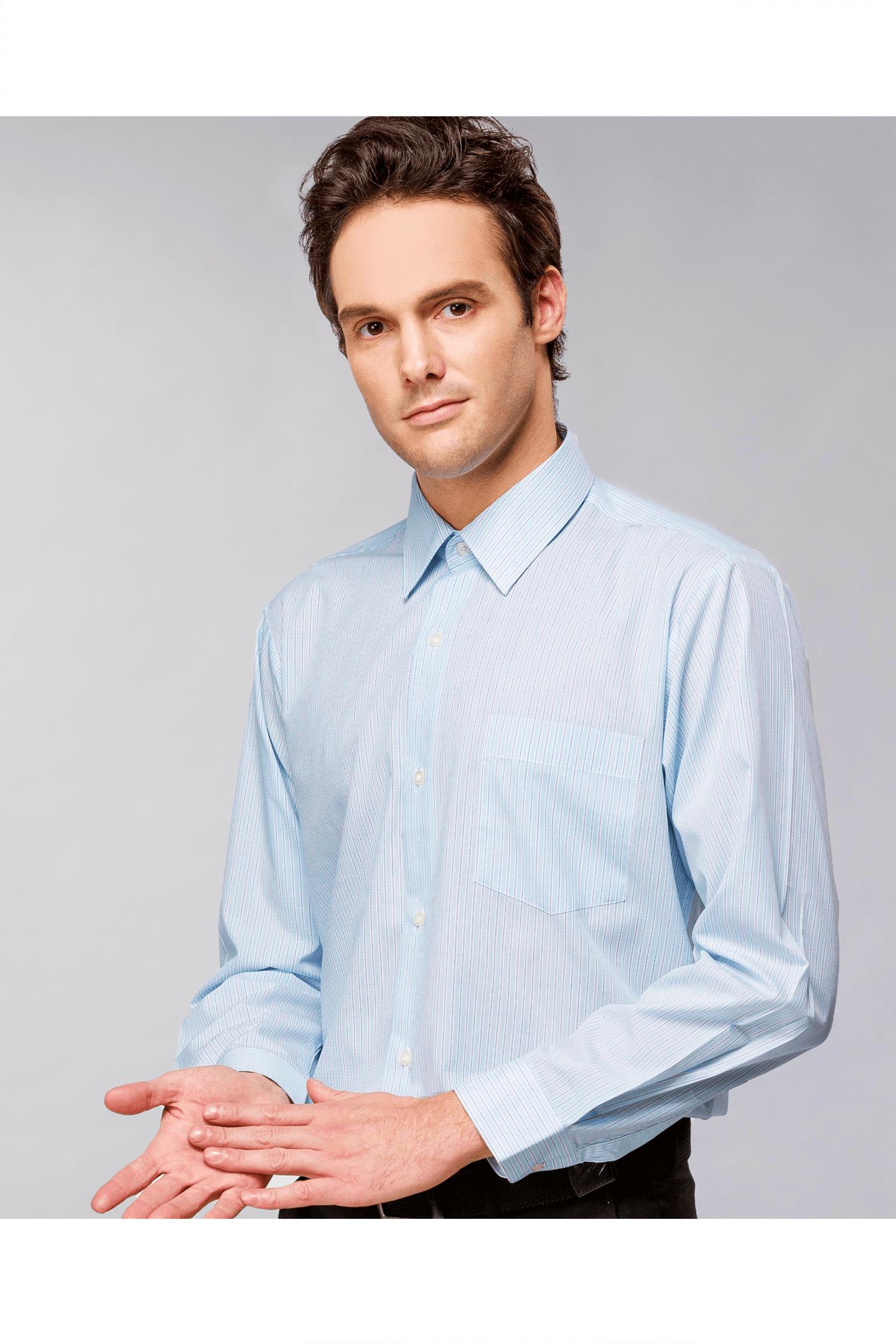 藍綠條棉質長袖襯衫 / 舒適透氣