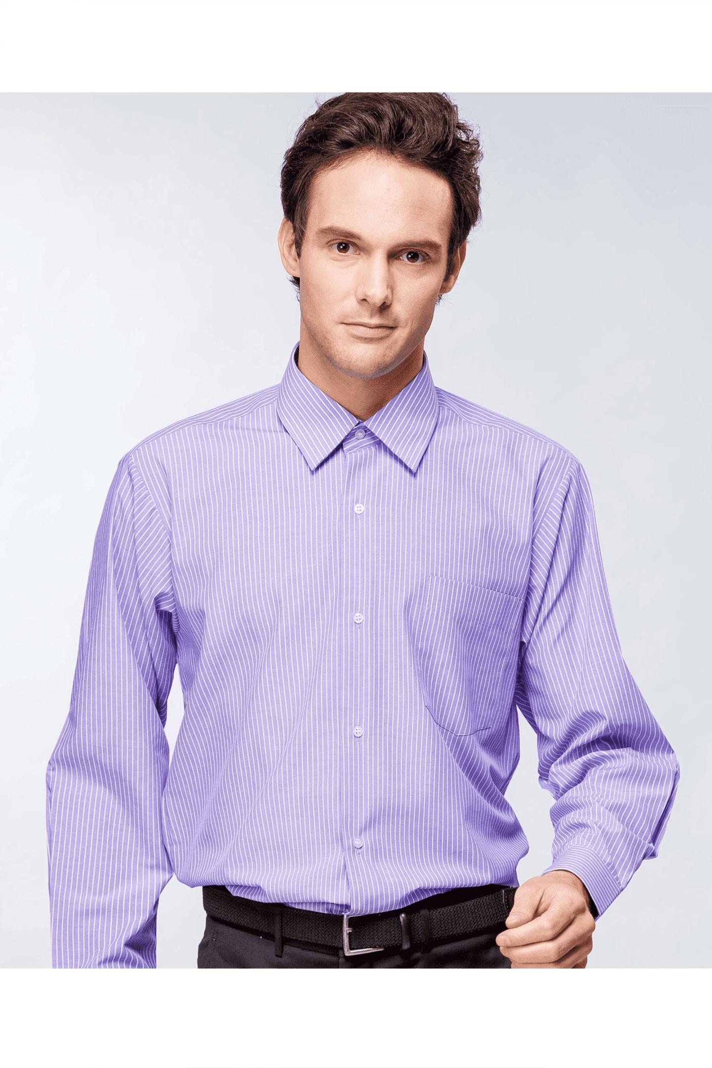白紫條棉質長袖襯衫 / 舒適透氣<br />